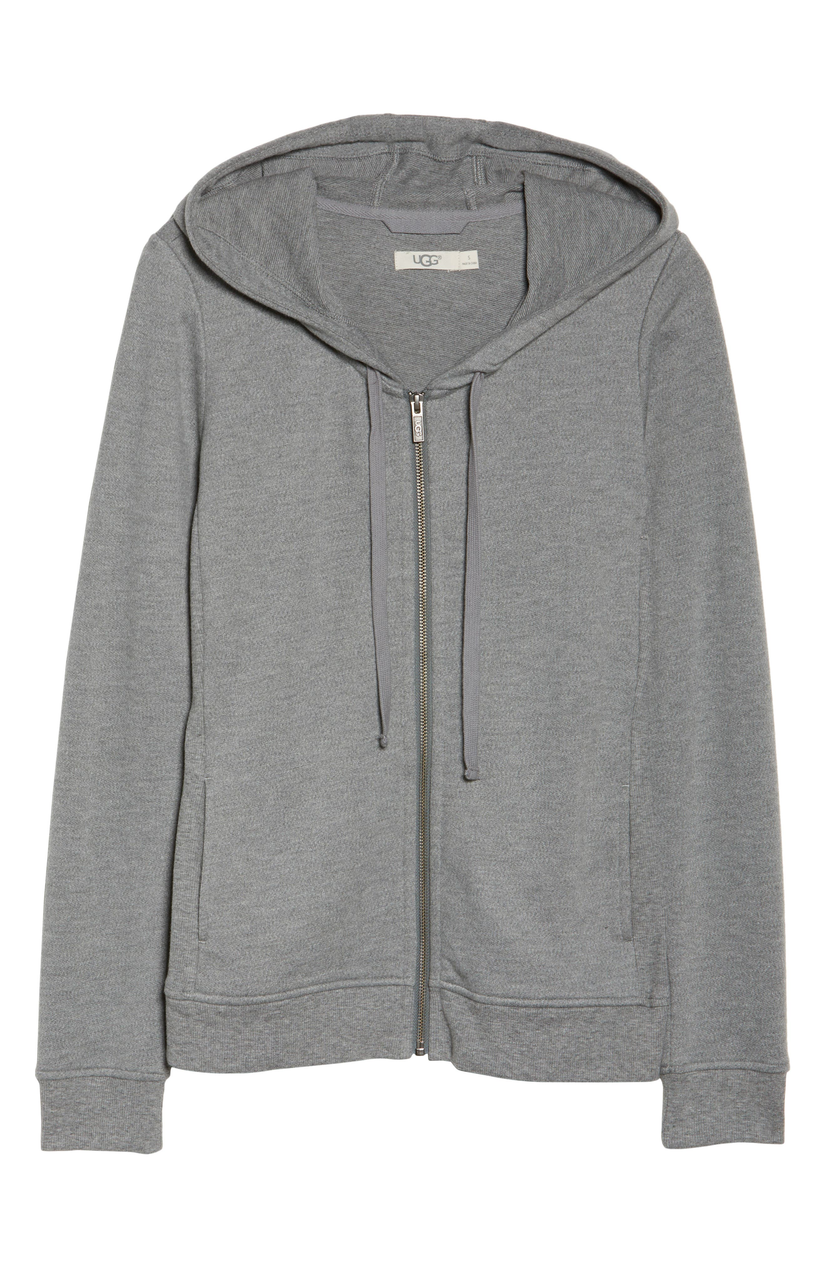 UGG<SUP>®</SUP>, Clara Zip Hoodie, Alternate thumbnail 6, color, GREY HEATHER