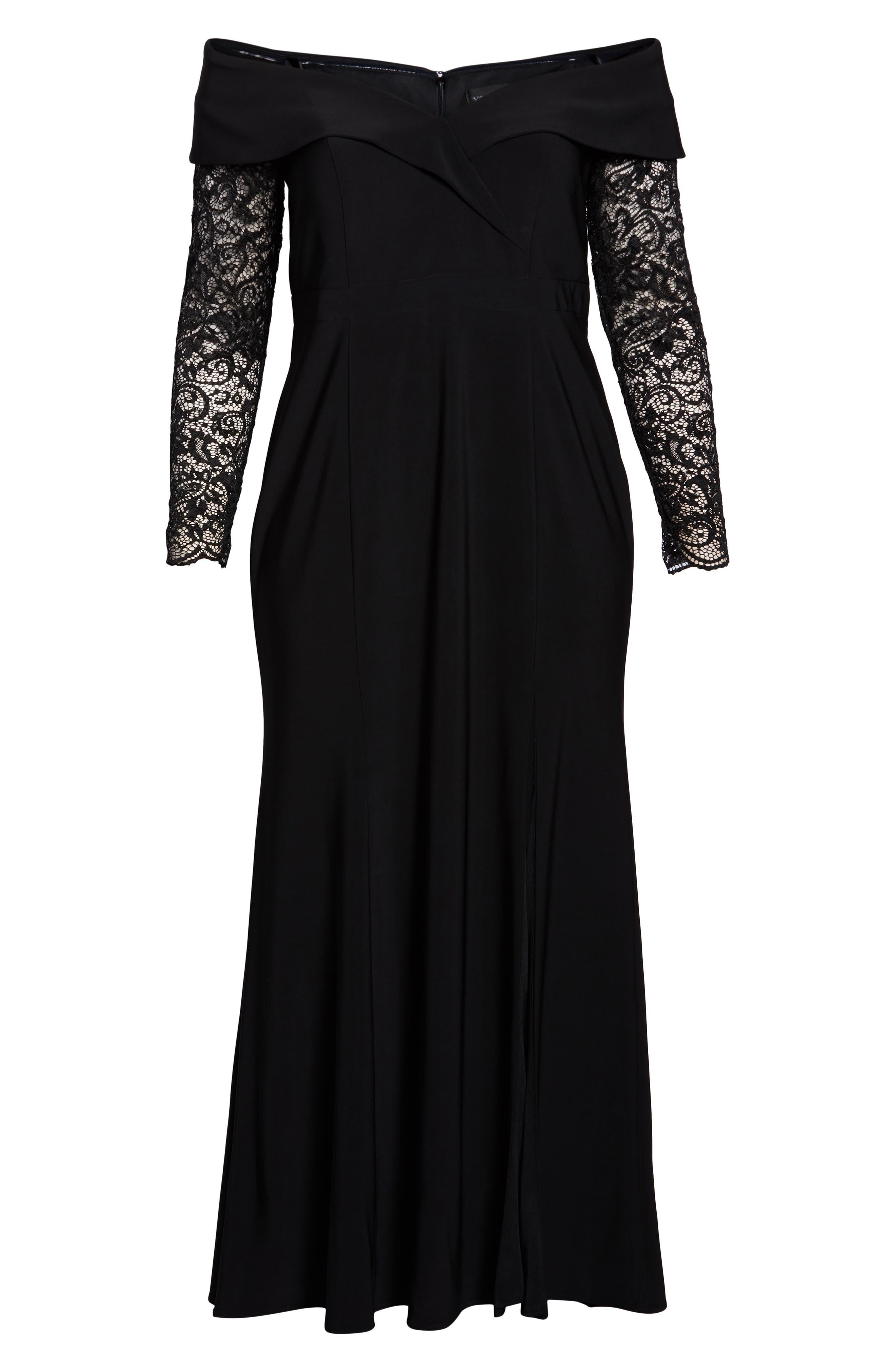 XSCAPE, Off the Shoulder Lace Sleeve Evening Gown, Alternate thumbnail 7, color, BLACK