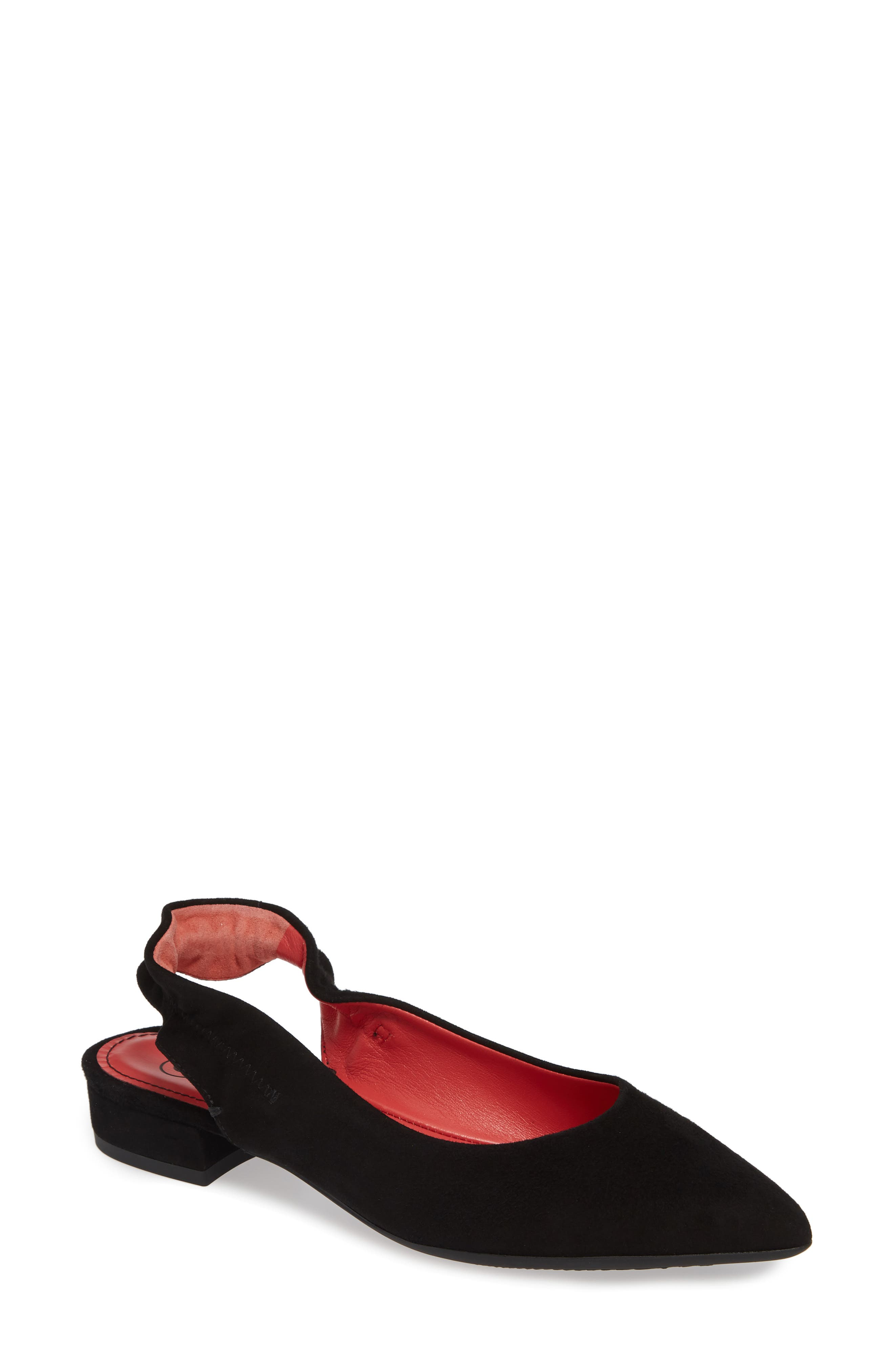 PAS DE ROUGE, Janet Flat, Main thumbnail 1, color, BLACK SUEDE