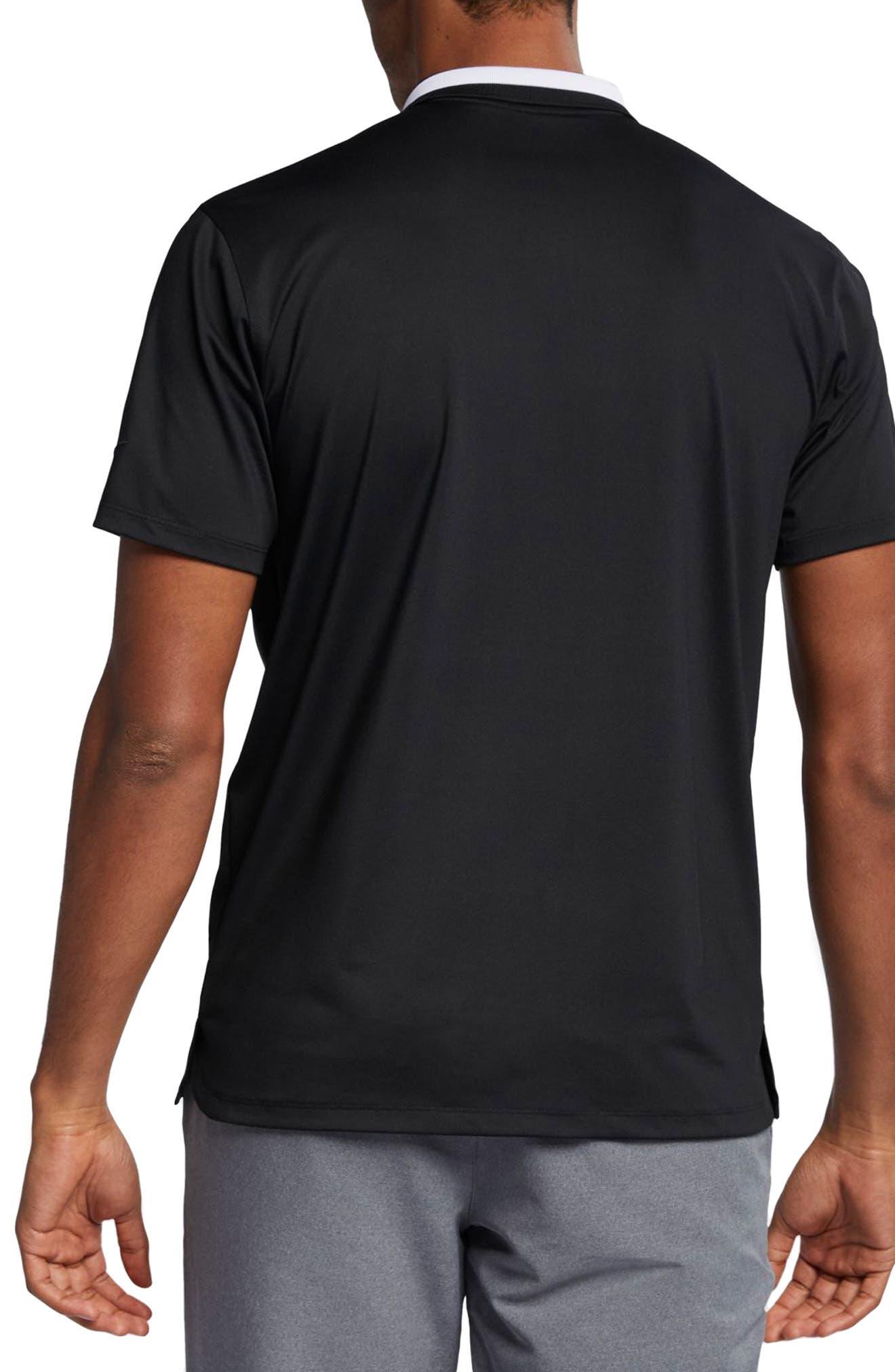 NIKE, Vapor Dri-FIT Golf Polo, Alternate thumbnail 2, color, BLACK/ WHITE/ BLACK