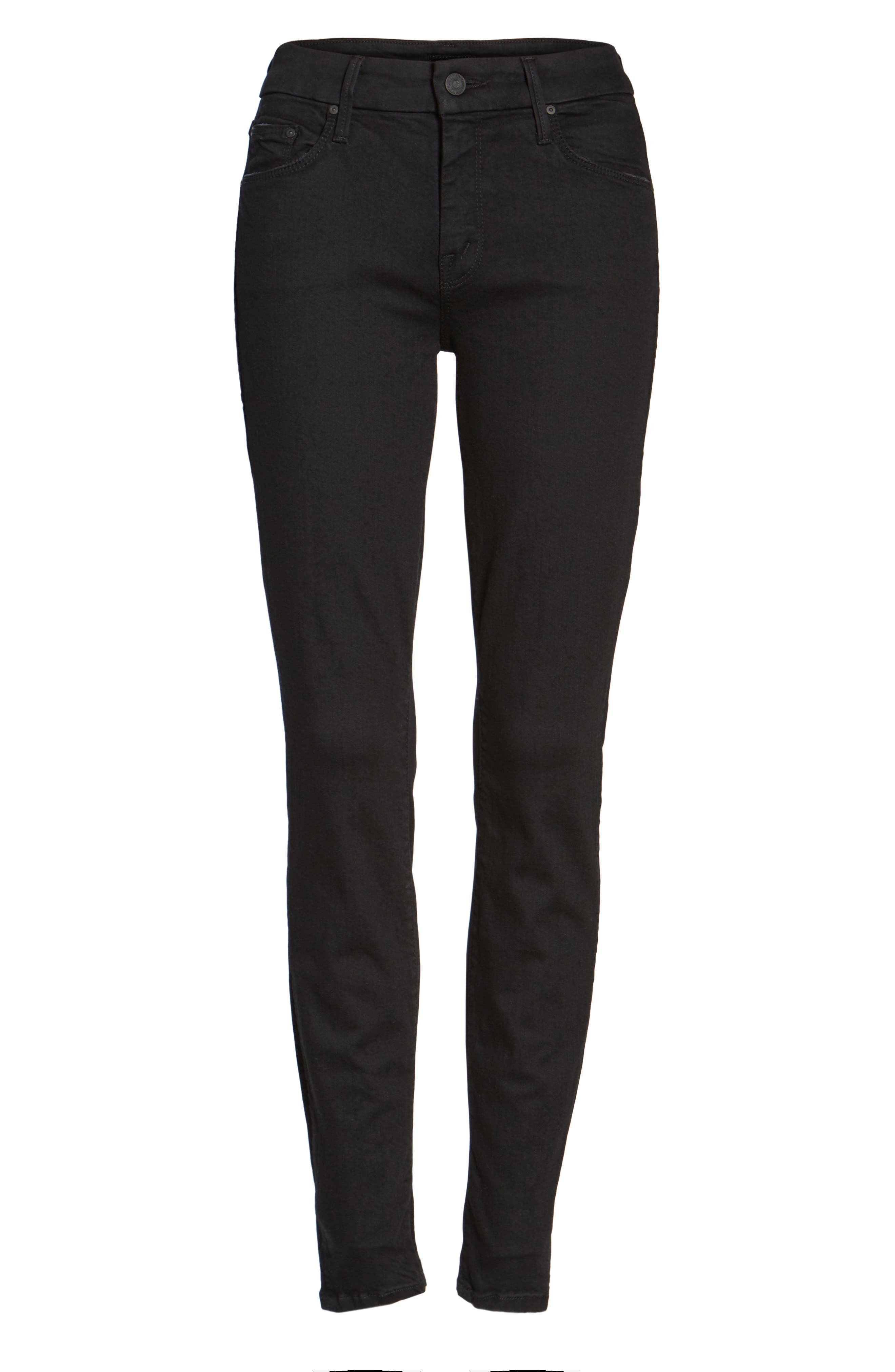 MOTHER, 'The Looker' Mid Rise Skinny Jeans, Alternate thumbnail 7, color, NOT GUILTY