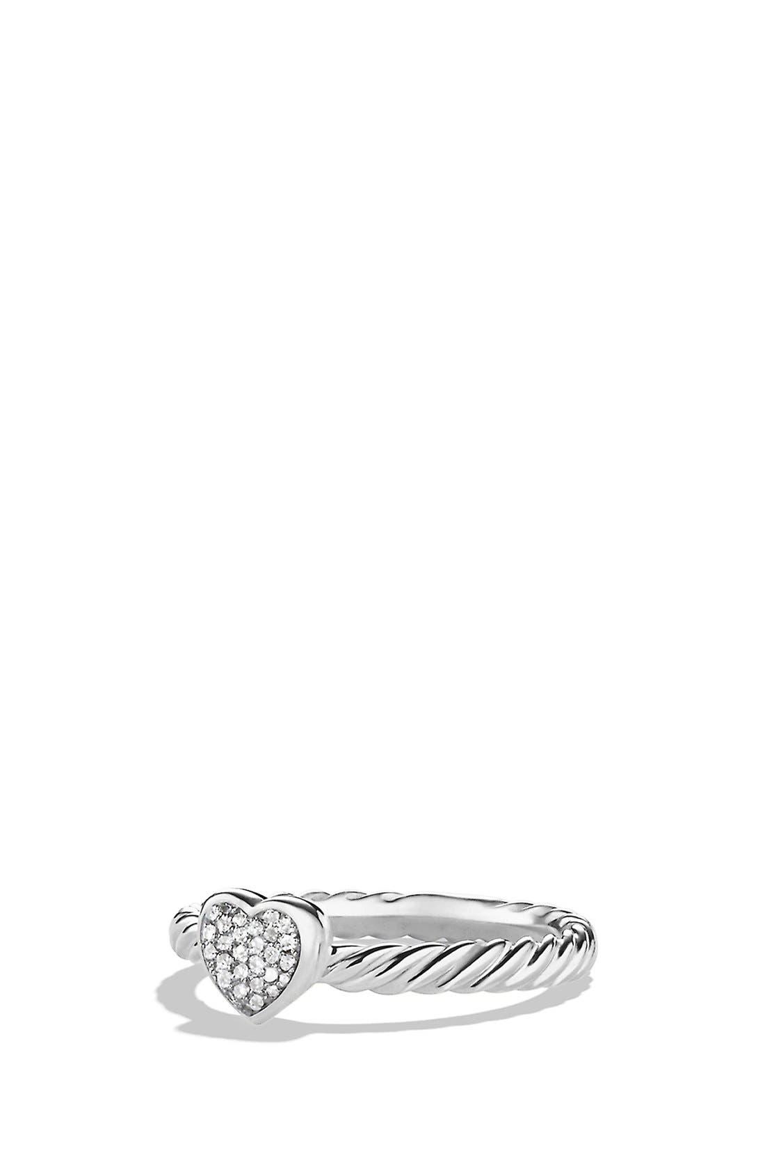 DAVID YURMAN, 'Cable Collectibles' Heart Ring with Diamonds, Main thumbnail 1, color, DIAMOND