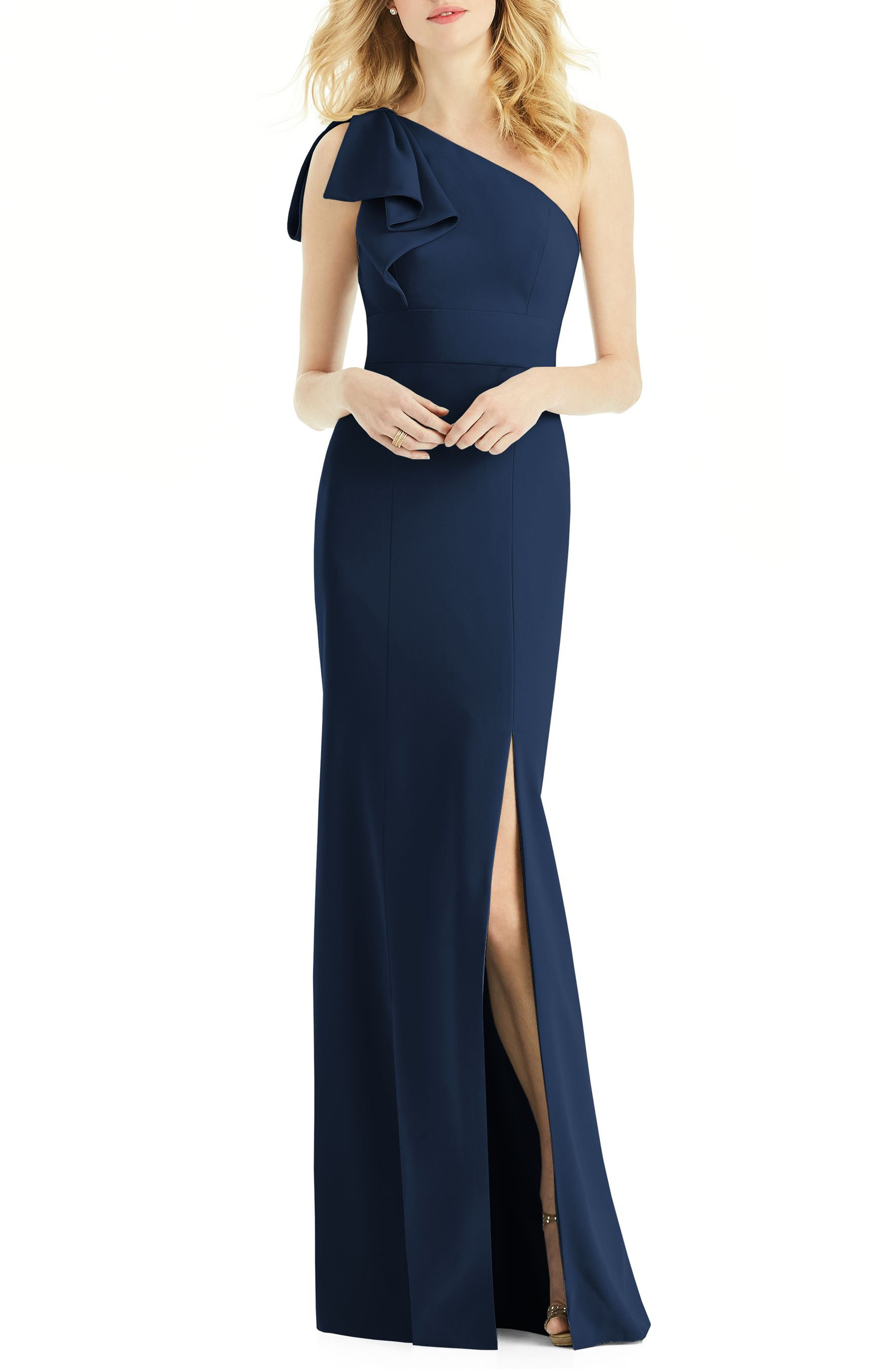 AFTER SIX, Bow One-Shoulder Gown, Main thumbnail 1, color, MIDNIGHT