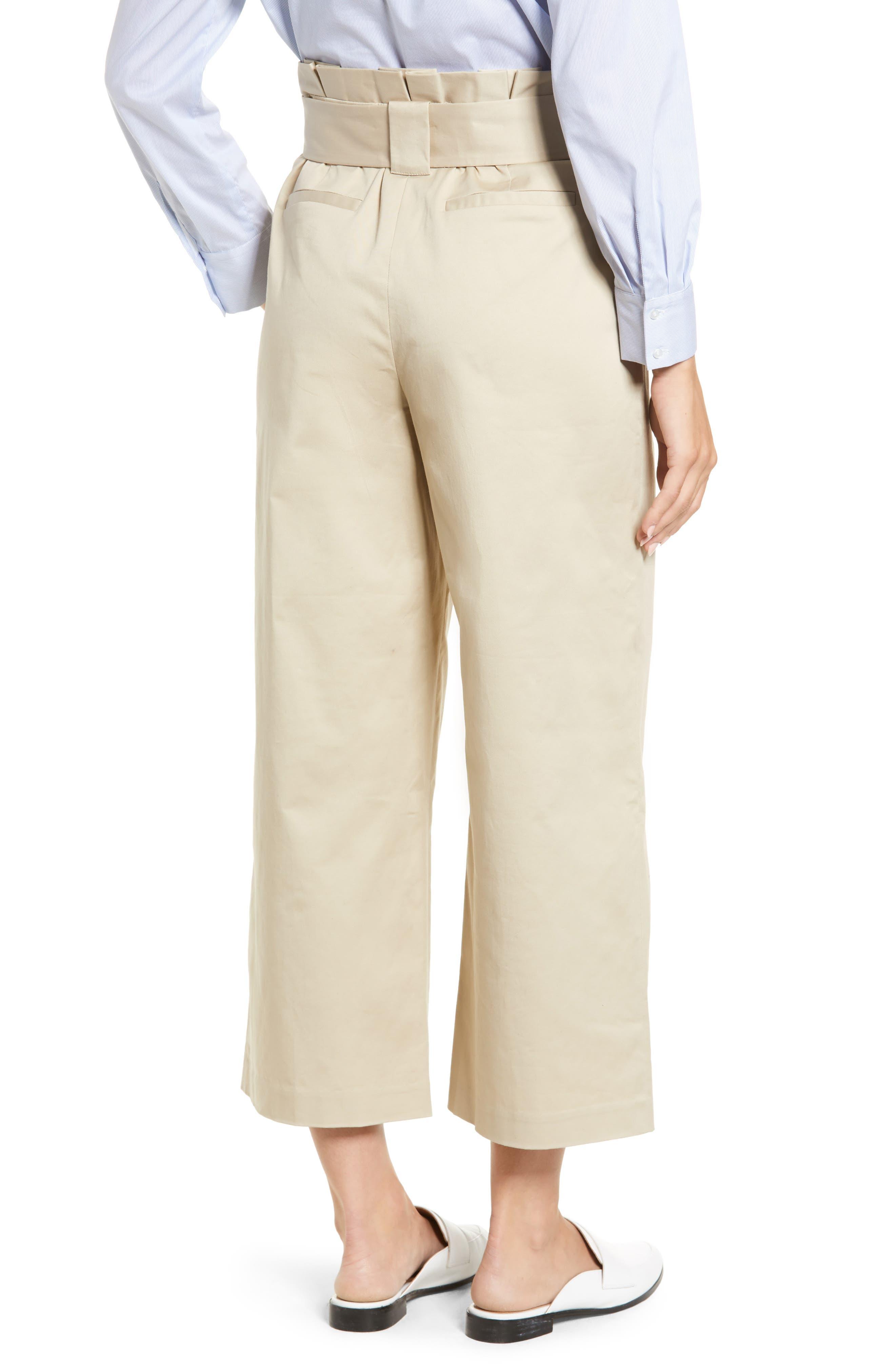 HALOGEN<SUP>®</SUP>, Paperbag Waist Belted Wide Leg Crop Pants, Alternate thumbnail 2, color, TAN OXFORD