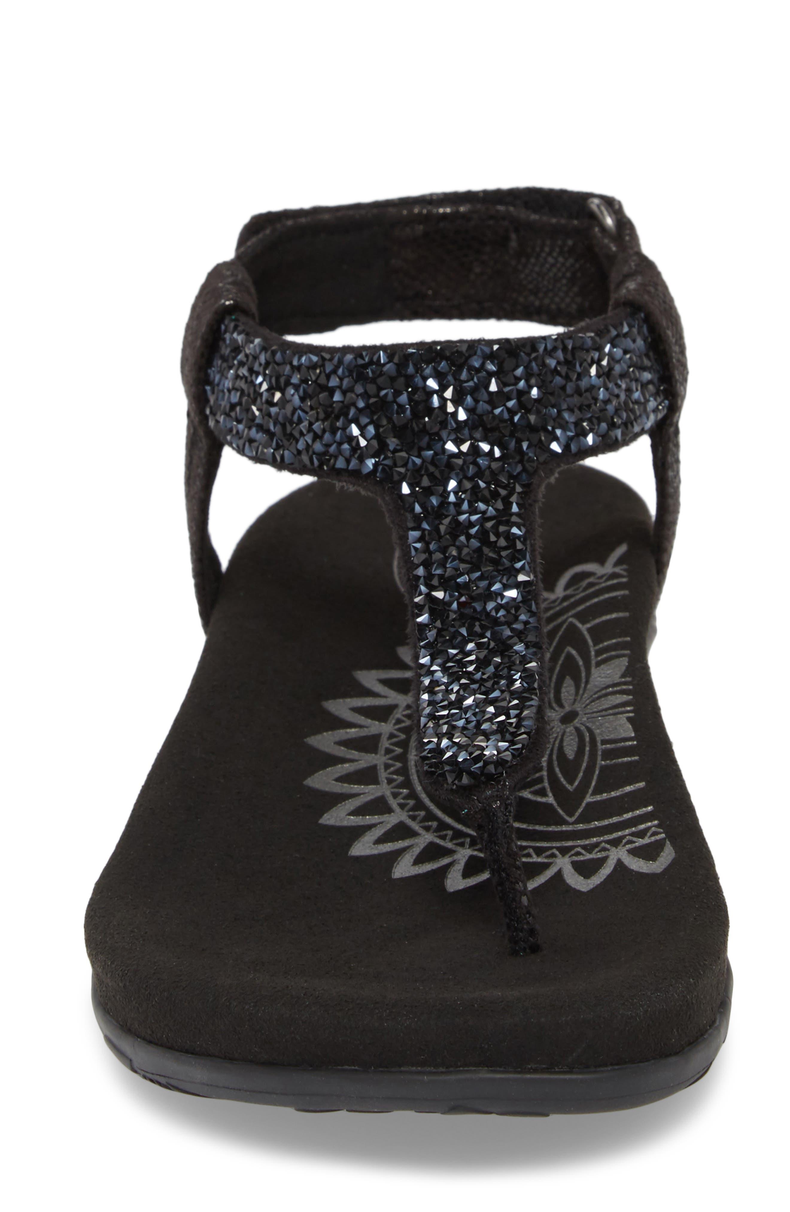 AETREX, Jade Embellished T-Strap Sandal, Alternate thumbnail 4, color, BLACK LEATHER