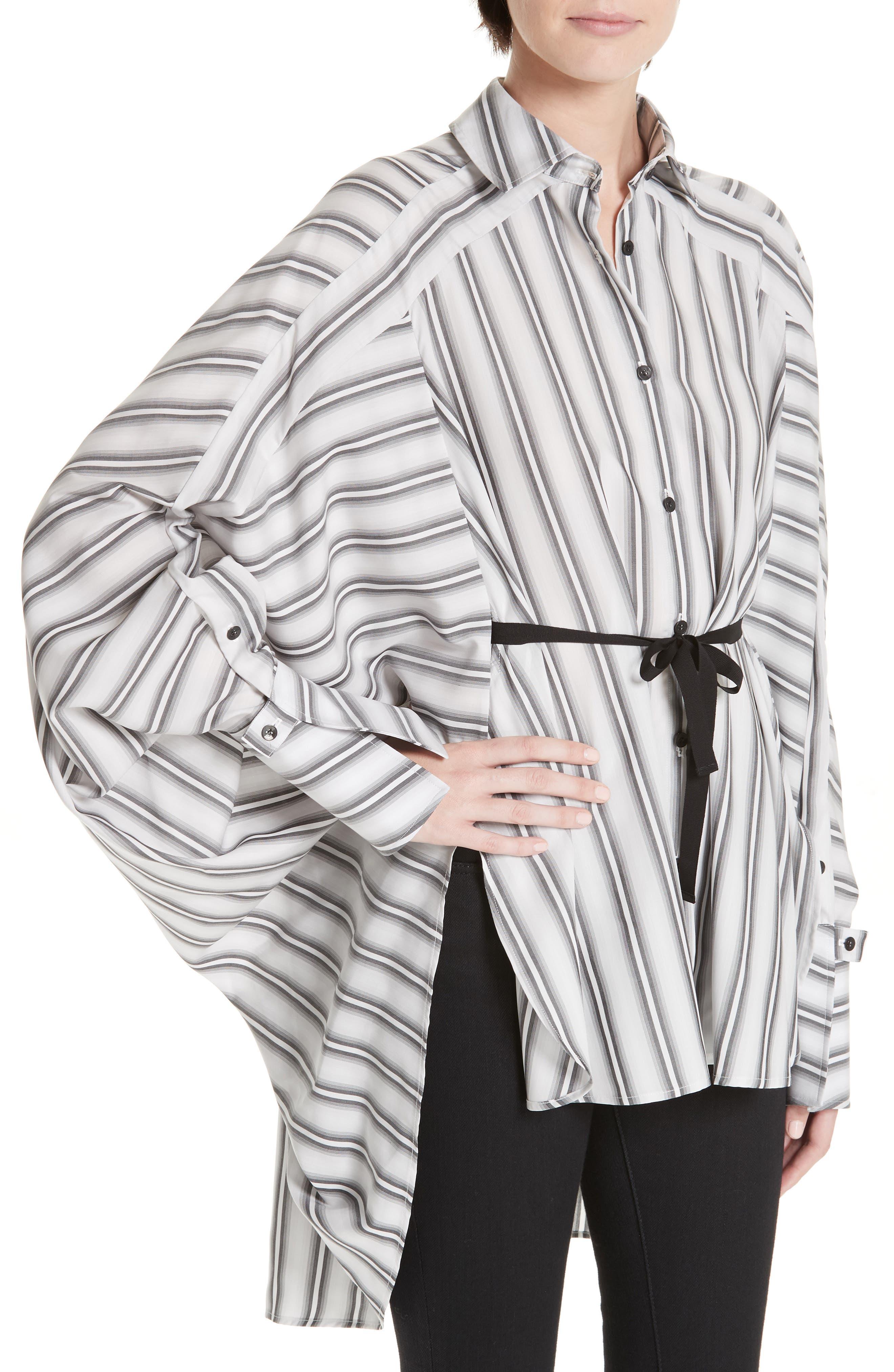 PALMER/HARDING, Streep Stripe Shirt, Alternate thumbnail 4, color, GRADIENT STRIPE WITH BLACK