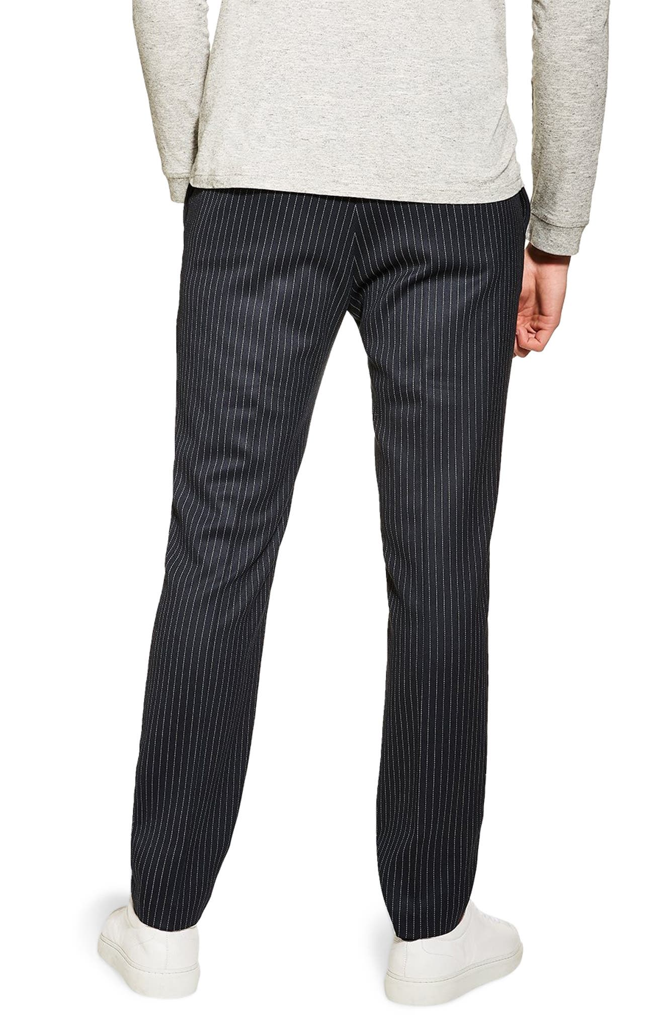 TOPMAN, Tailored Pinstripe Trousers, Alternate thumbnail 2, color, NAVY BLUE
