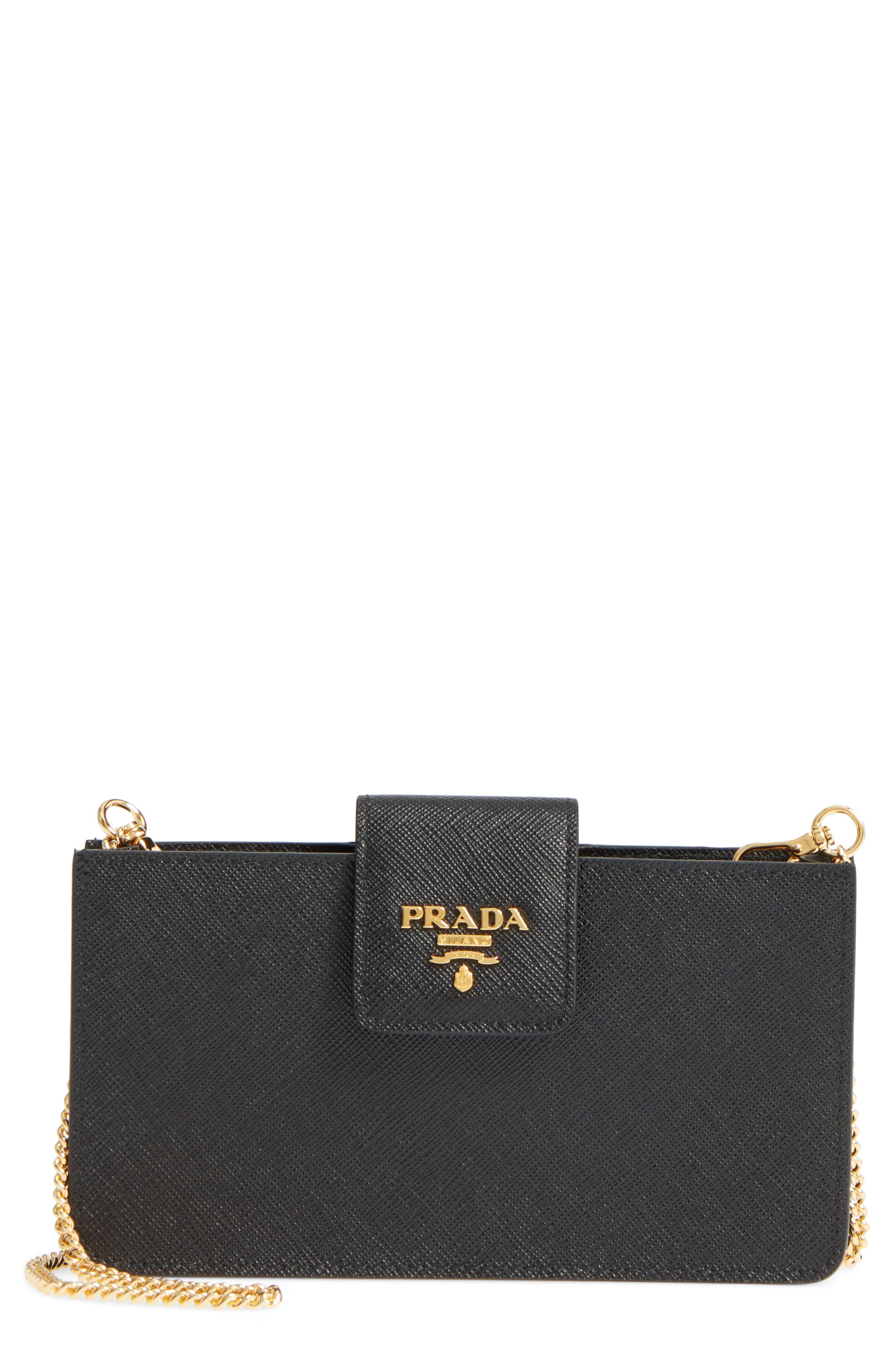 PRADA Saffiano Leather Phone Wallet on a Chain, Main, color, 001