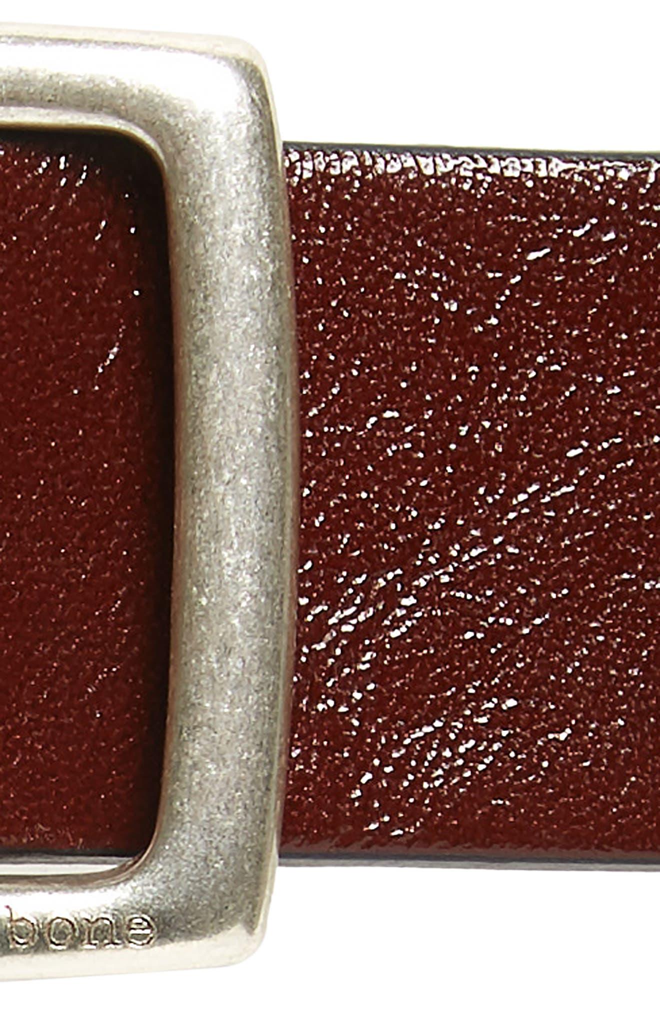 RAG & BONE, 'Boyfriend' Leather Belt, Alternate thumbnail 3, color, DARK BROWN