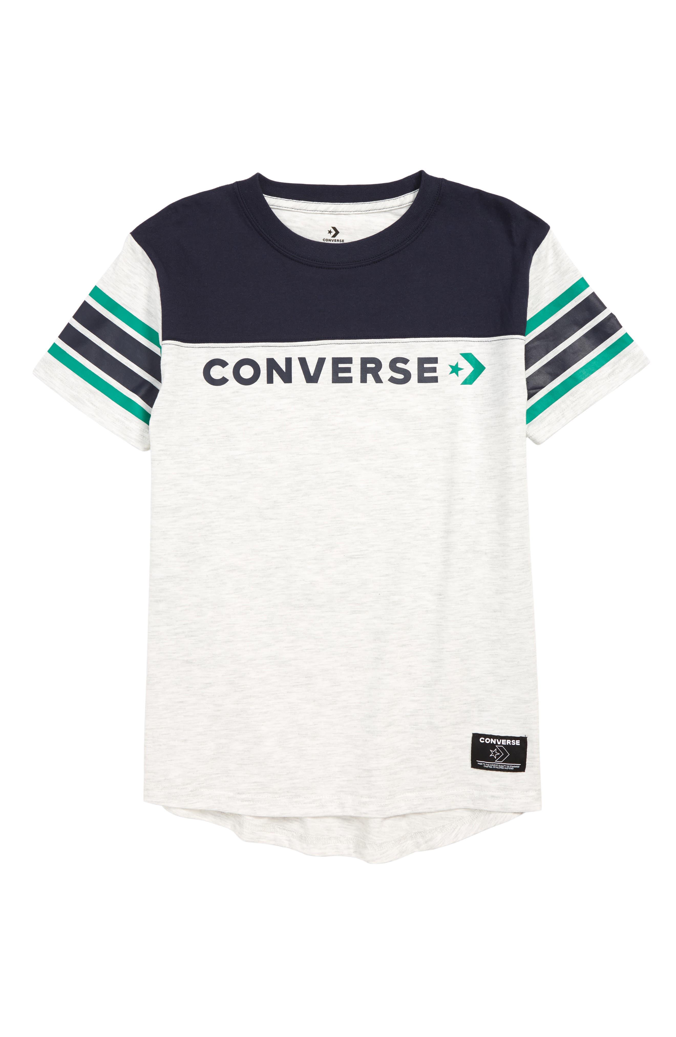 CONVERSE Retro Graphic T-Shirt, Main, color, BIRCH HEATHER