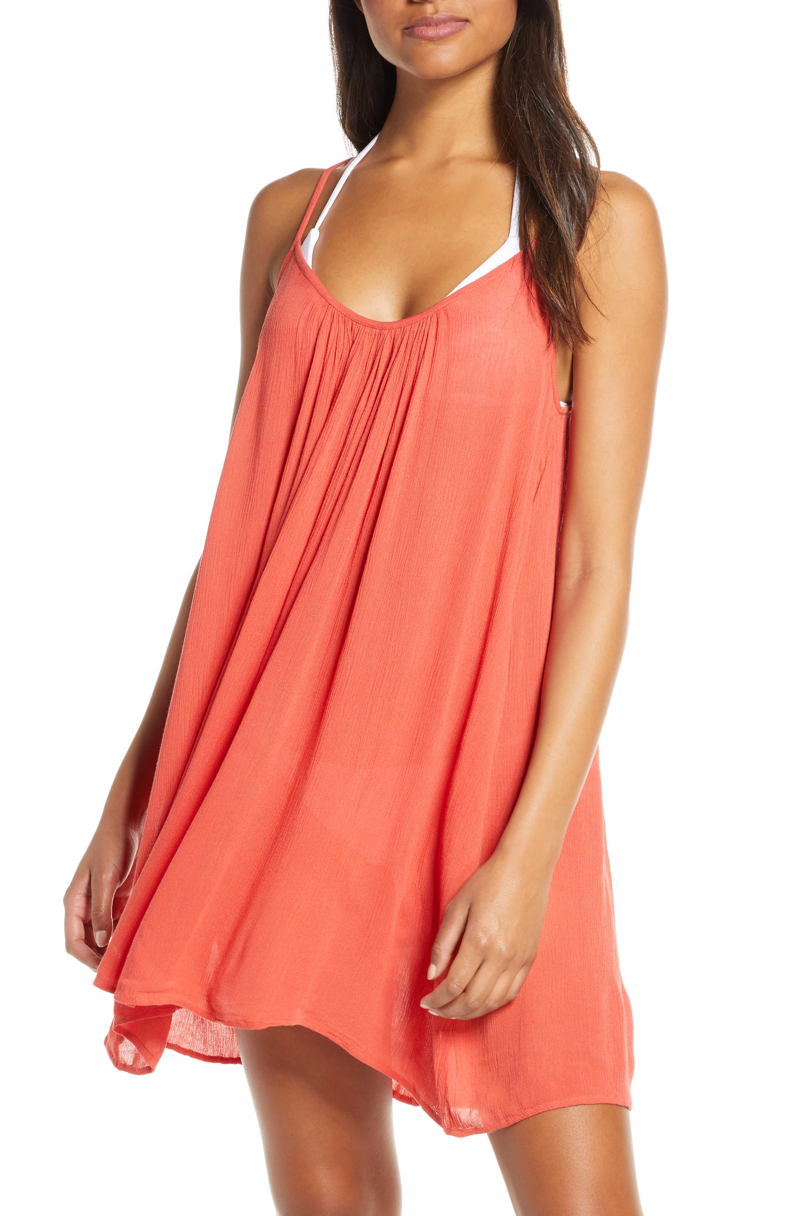 ELAN Cover-Up Slipdress, Main, color, CORAL