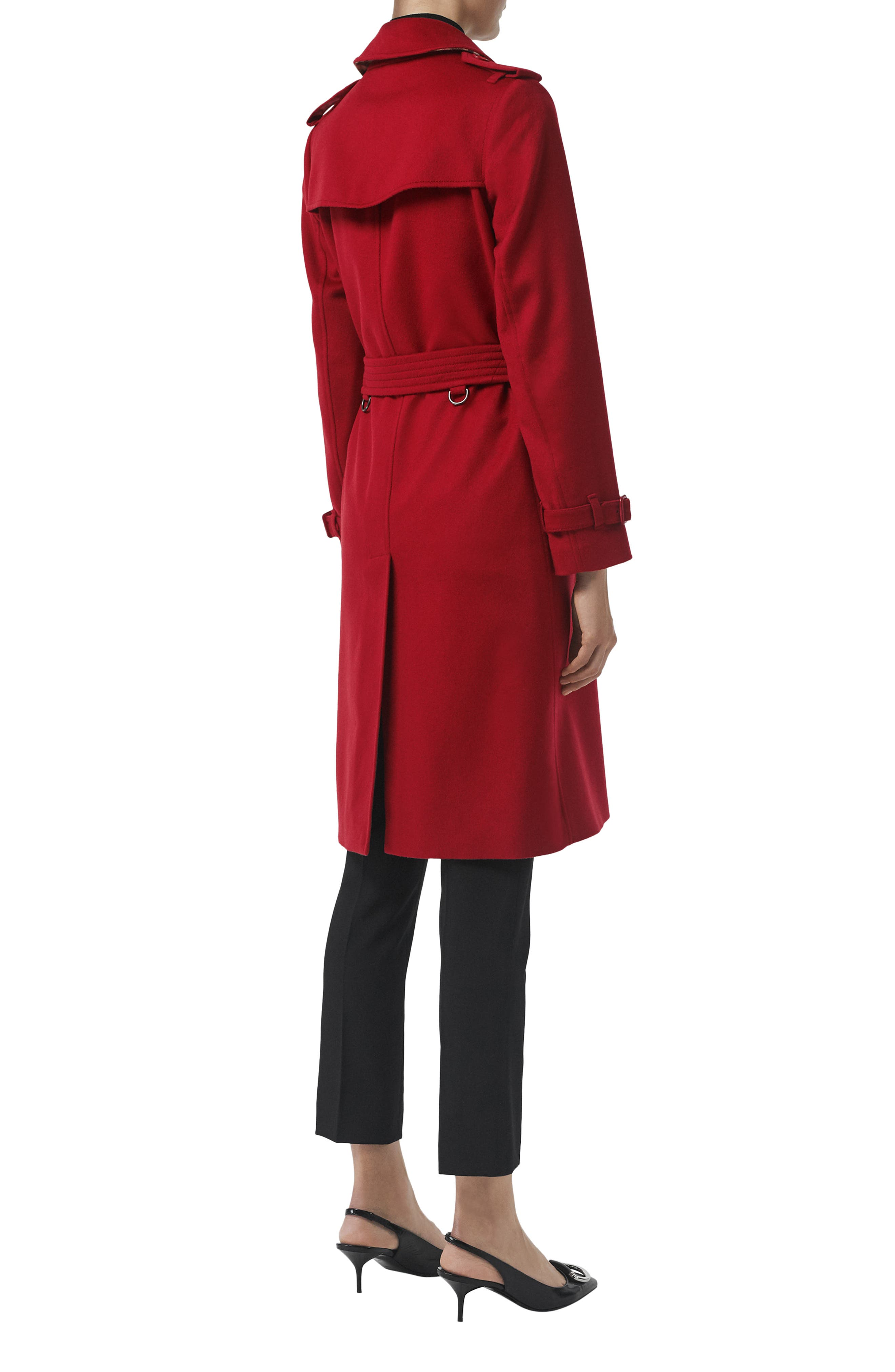 BURBERRY, Kensington Cashmere Trench Coat, Alternate thumbnail 6, color, PARADE RED