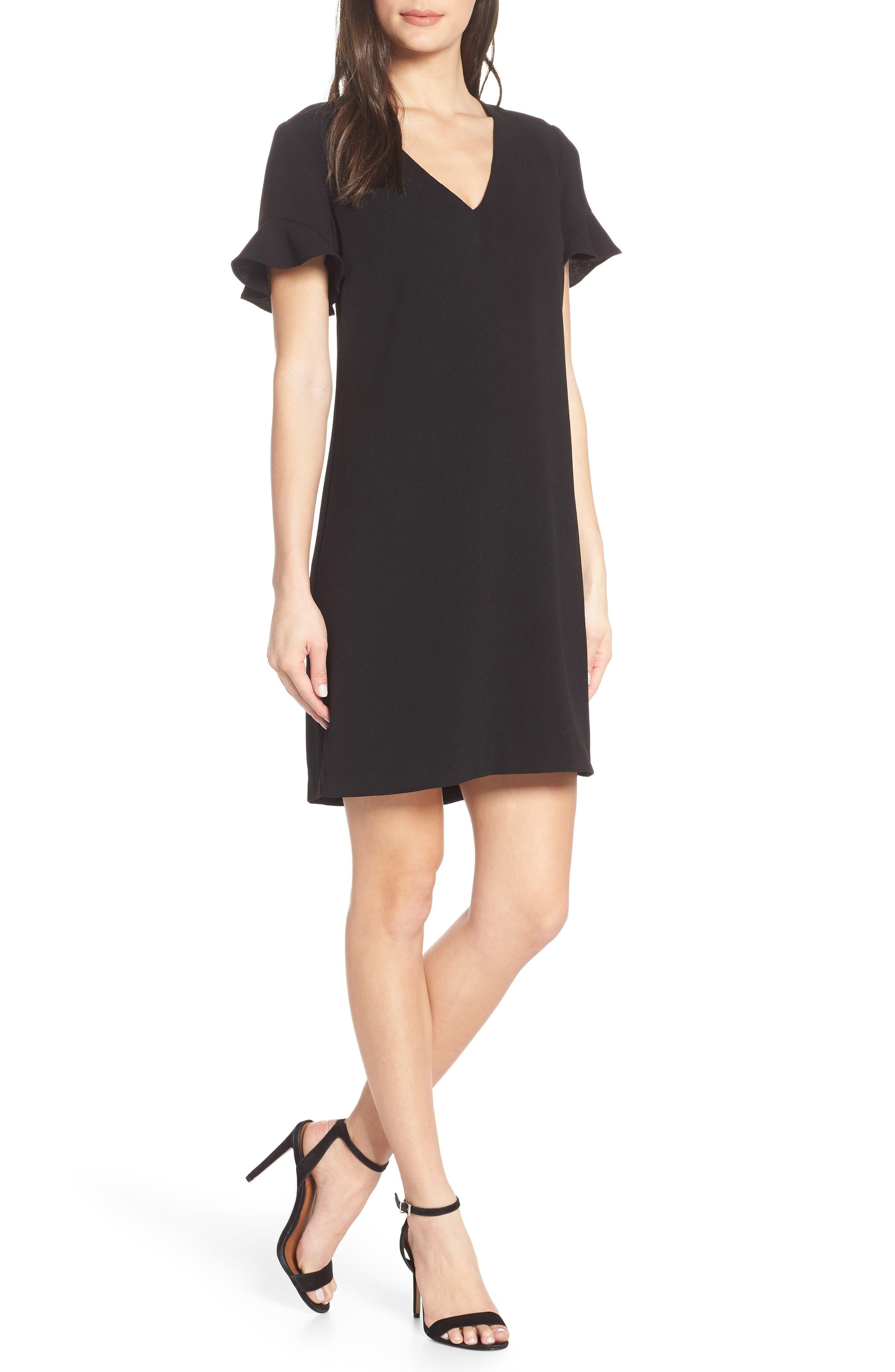 CHARLES HENRY Tie Back Shift Dress, Main, color, BLACK