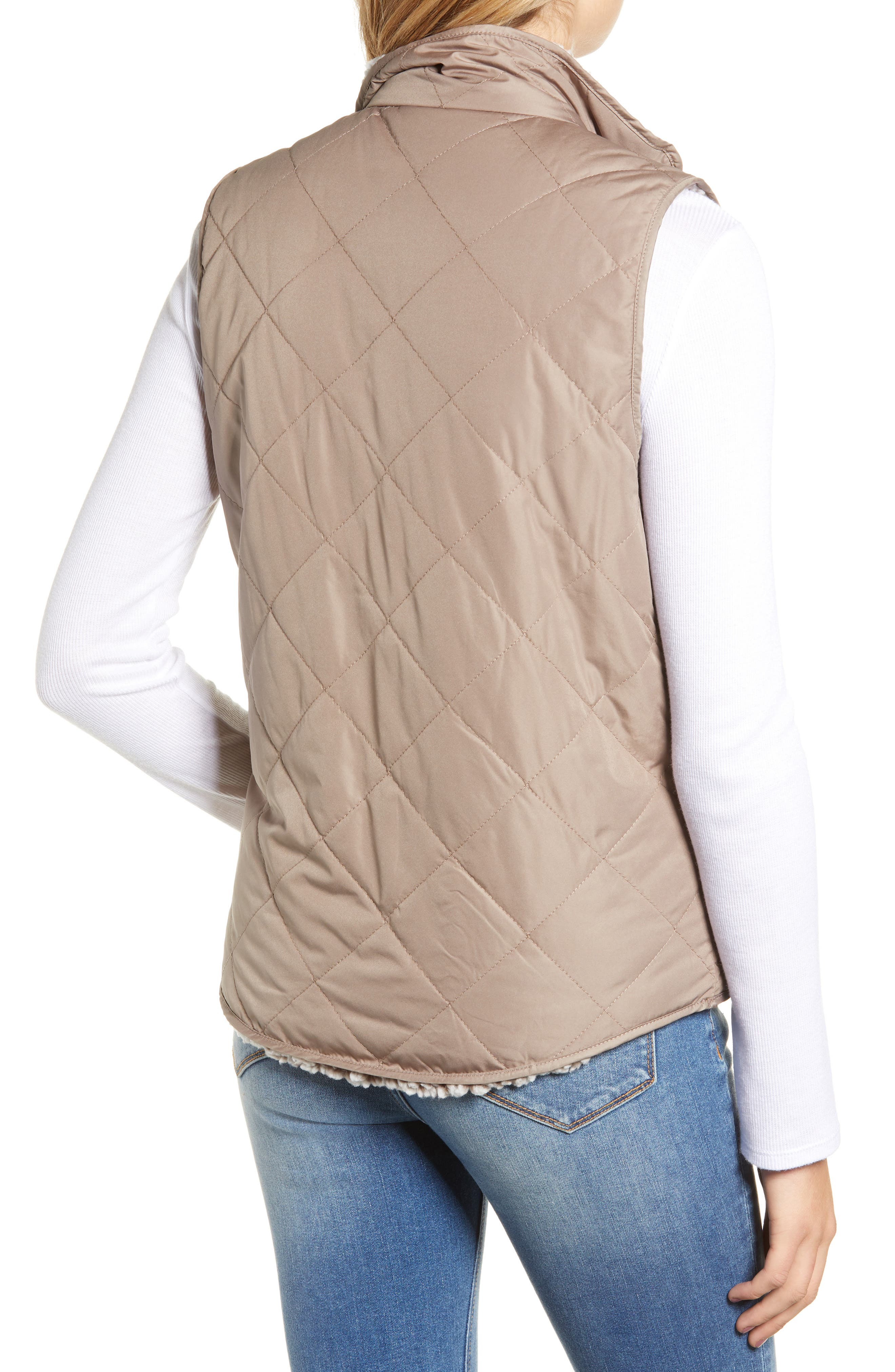 THREAD & SUPPLY, Reversible Fleece Lined Quilted Vest, Alternate thumbnail 4, color, MUSHROOM