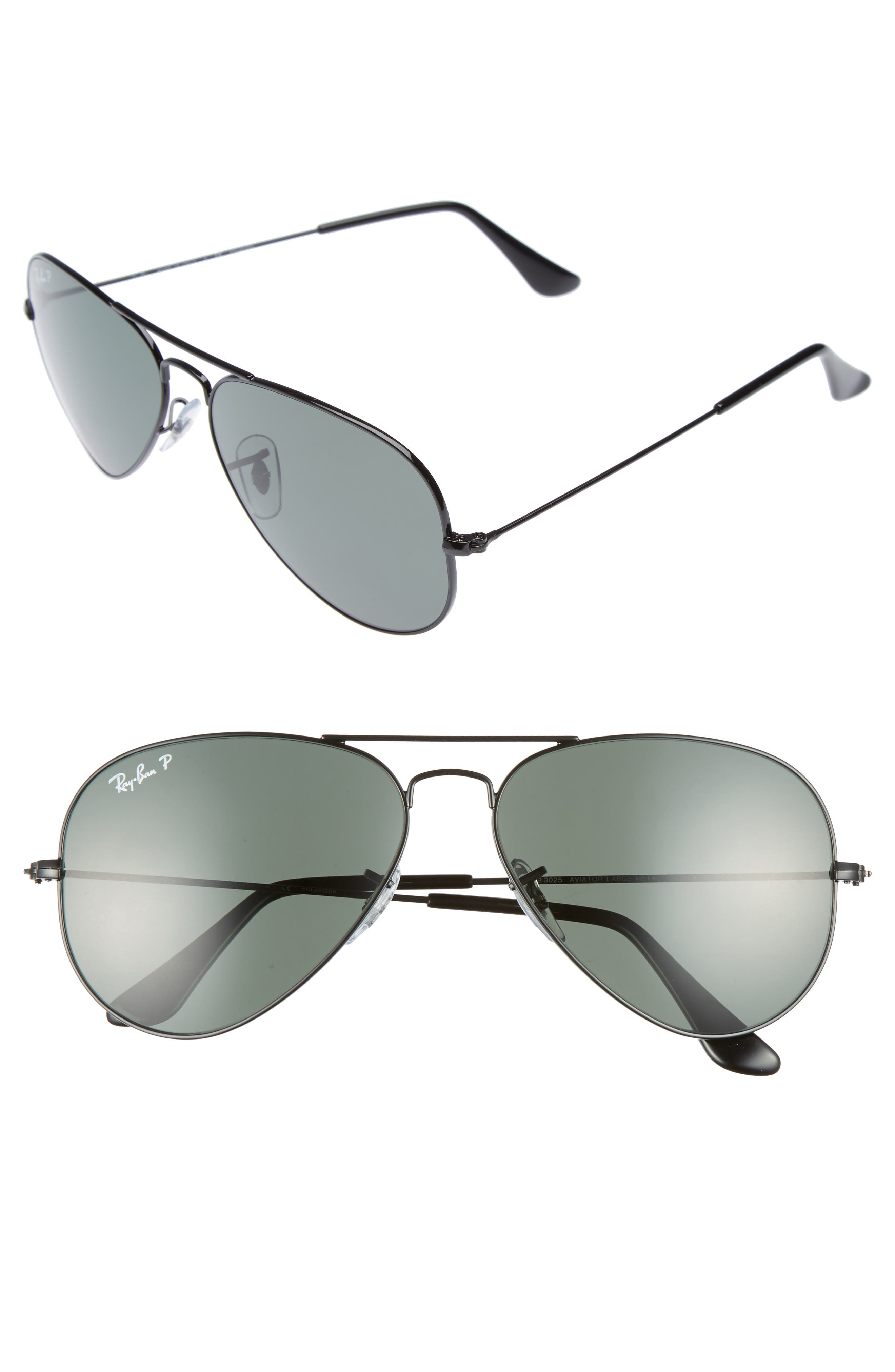 RAY-BAN Original 58mm Aviator Sunglasses, Main, color, BLACK