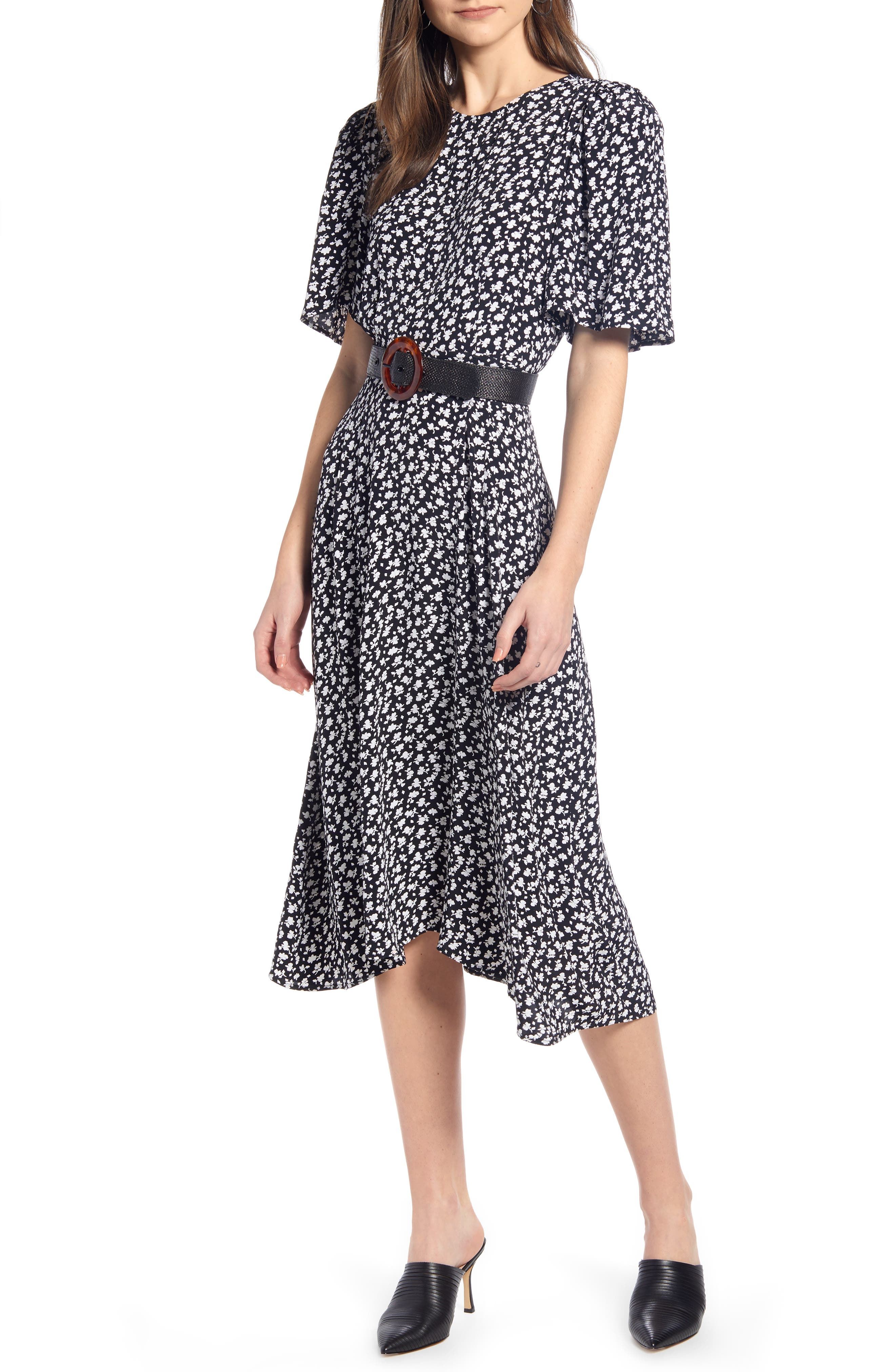 SOMETHING NAVY, Strong Shoulder Floral Print Midi Dress, Main thumbnail 1, color, SN BLACK VINTAGE FLORAL