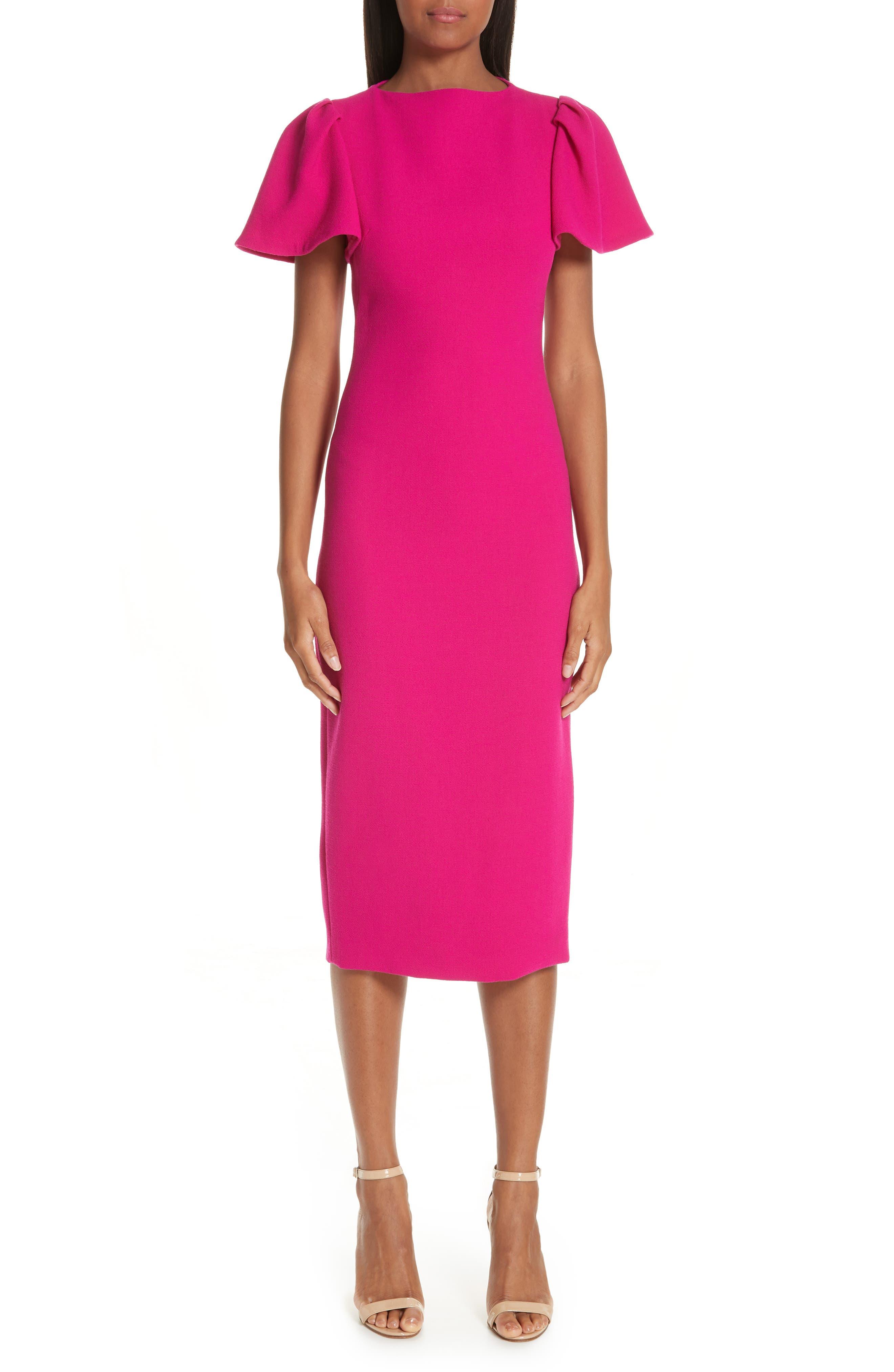 BRANDON MAXWELL, Flutter Sleeve Sheath Dress, Main thumbnail 1, color, MAGENTA