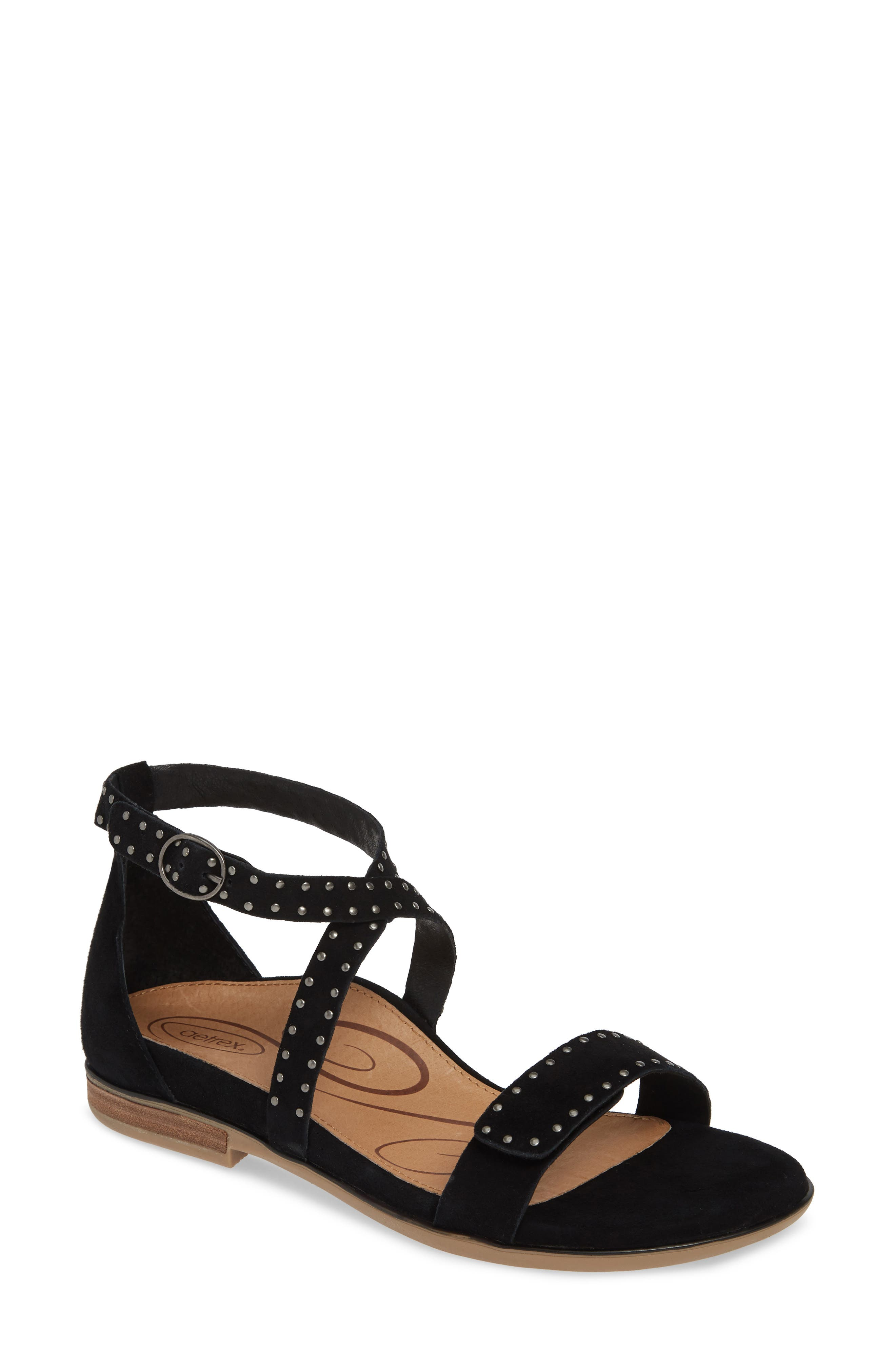 AETREX Hailey Studded Sandal, Main, color, BLACK SUEDE