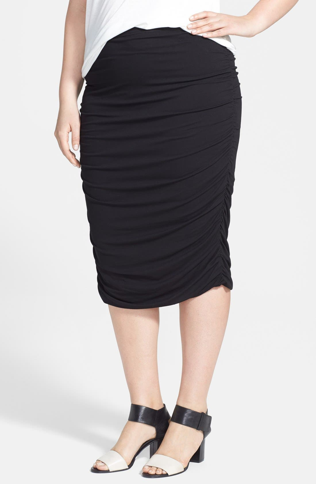 VINCE CAMUTO, Ruched Stretch Knit Midi Skirt, Main thumbnail 1, color, 001