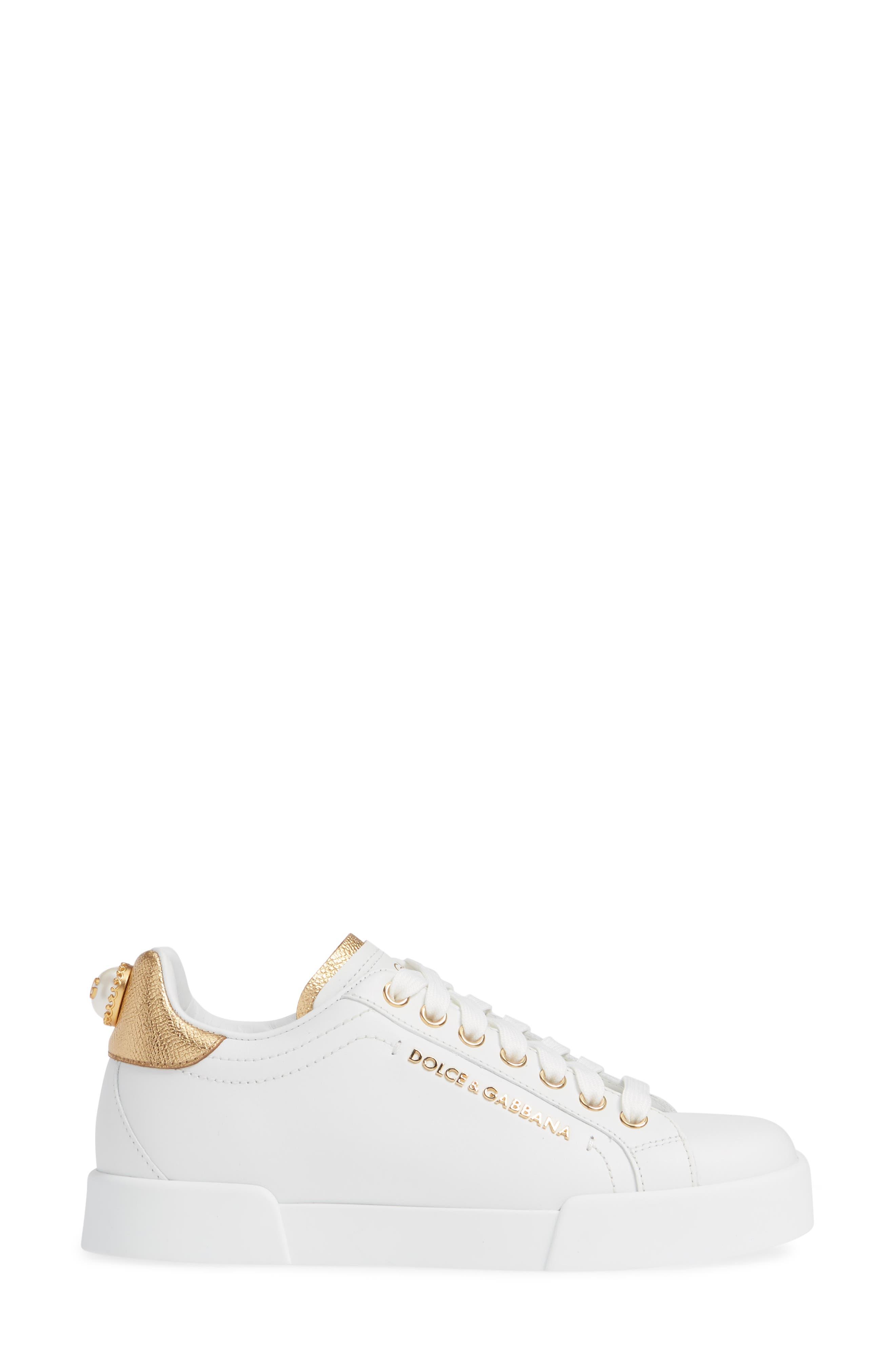 DOLCE&GABBANA, Portofino Embellished Sneaker, Alternate thumbnail 3, color, WHITE/ GOLD