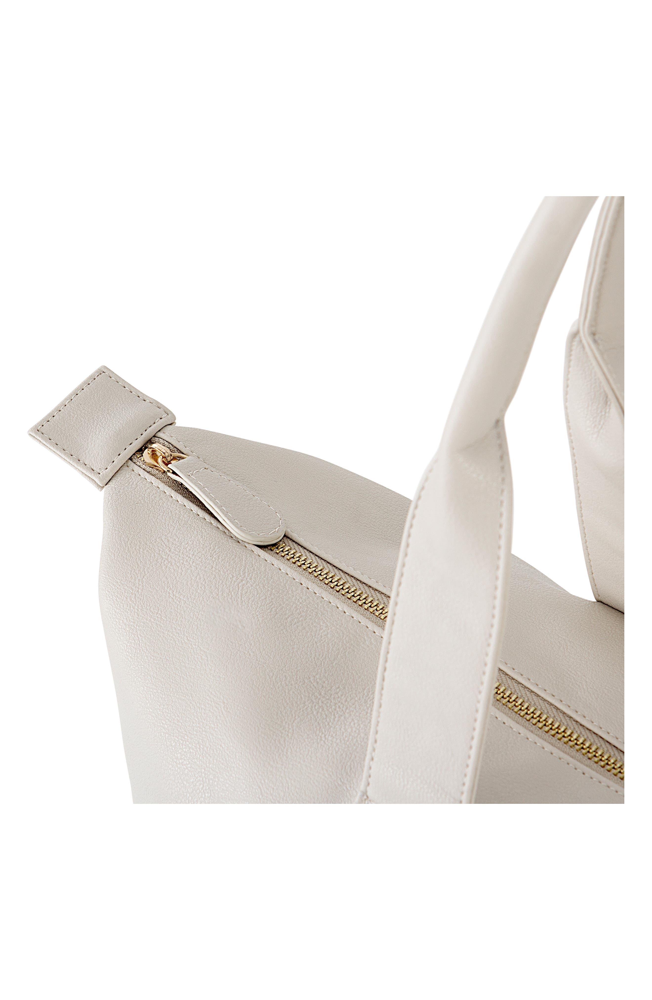 CATHY'S CONCEPTS, Monogram Faux Leather Tote with Shoe Base, Alternate thumbnail 7, color, GRAY