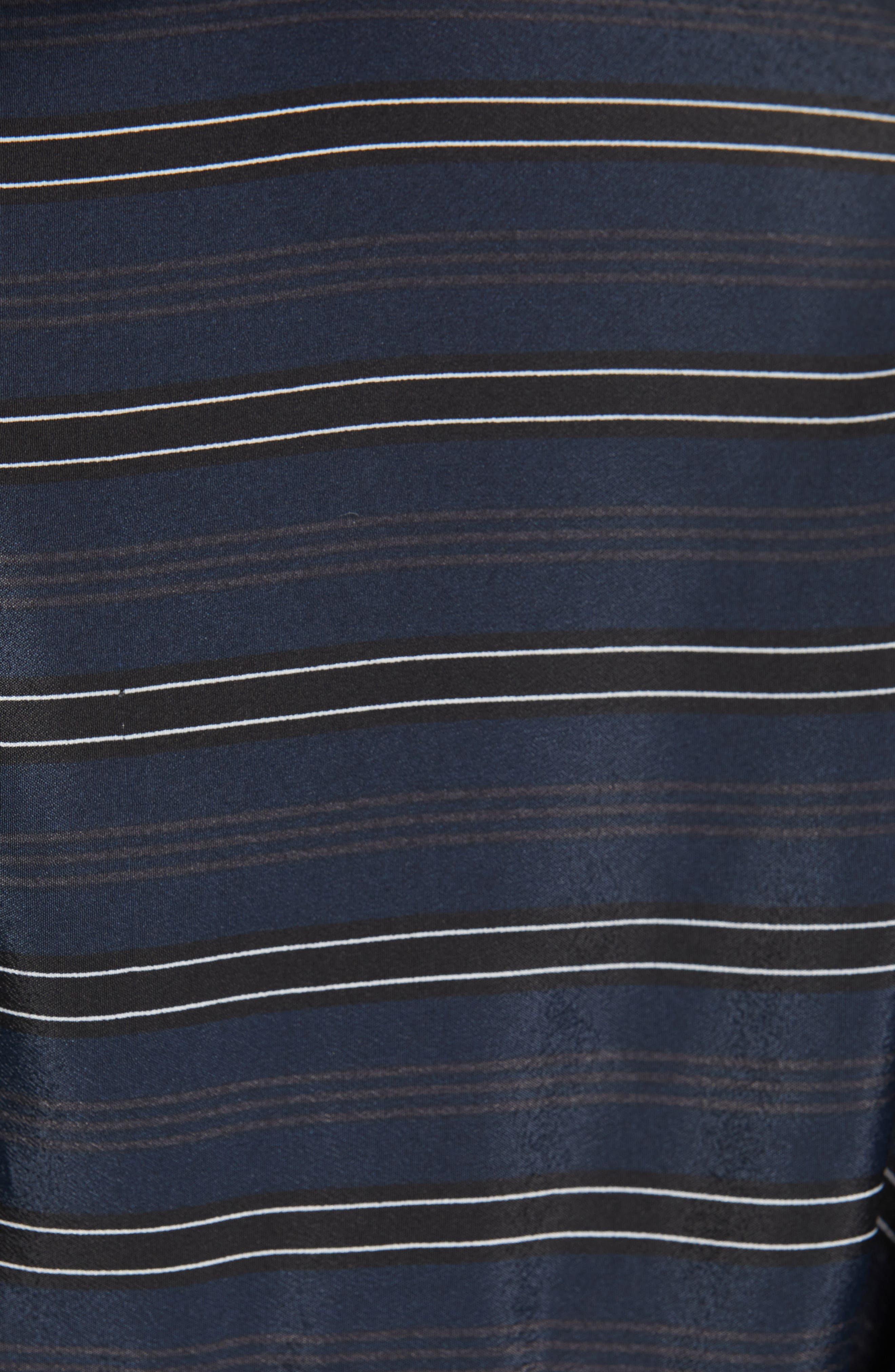 VINCE, Stripe Belted Midi Shirtdress, Alternate thumbnail 6, color, MARINE