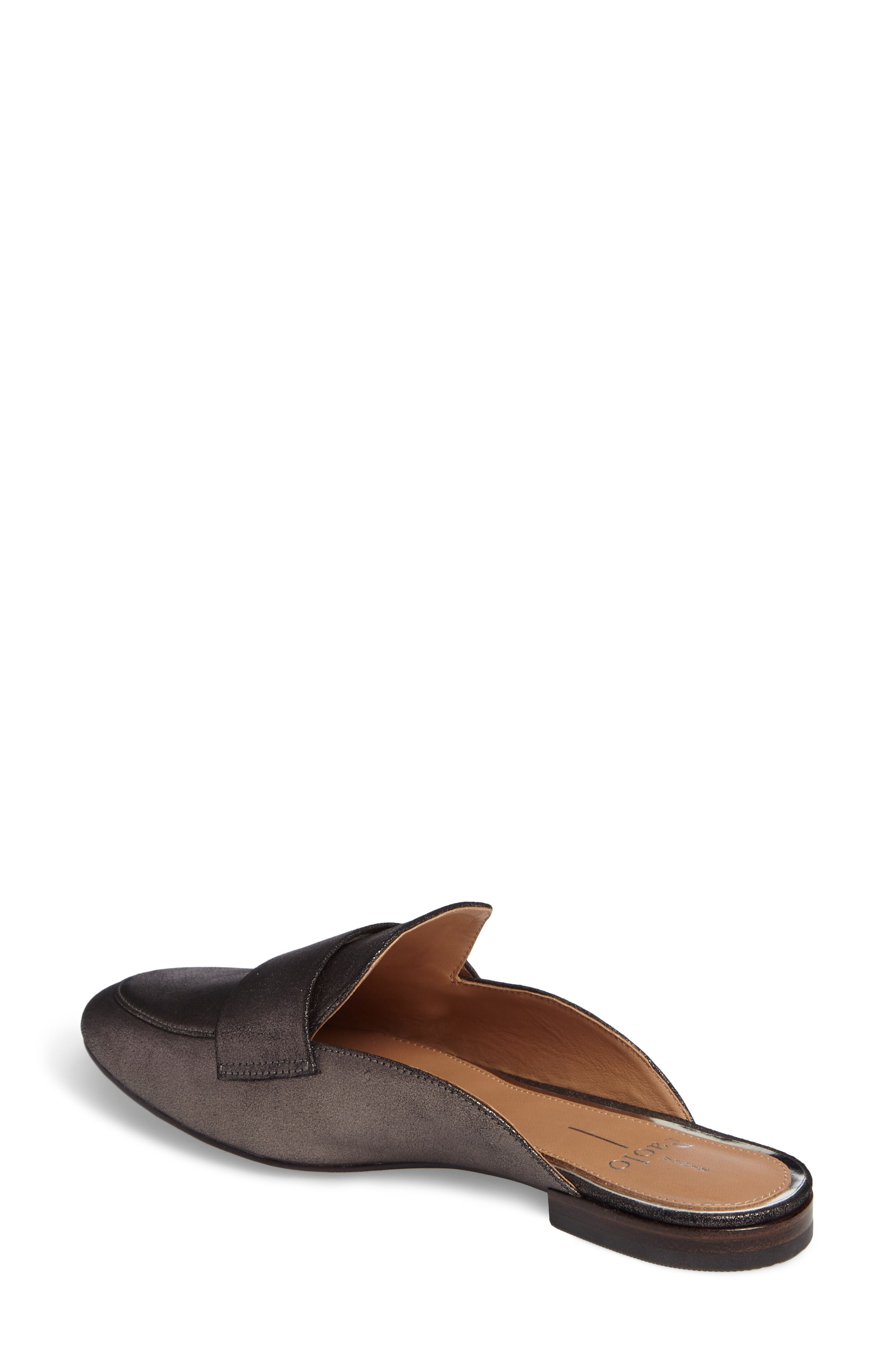LINEA PAOLO, Annie Loafer Mule, Alternate thumbnail 2, color, PEWTER SUEDE