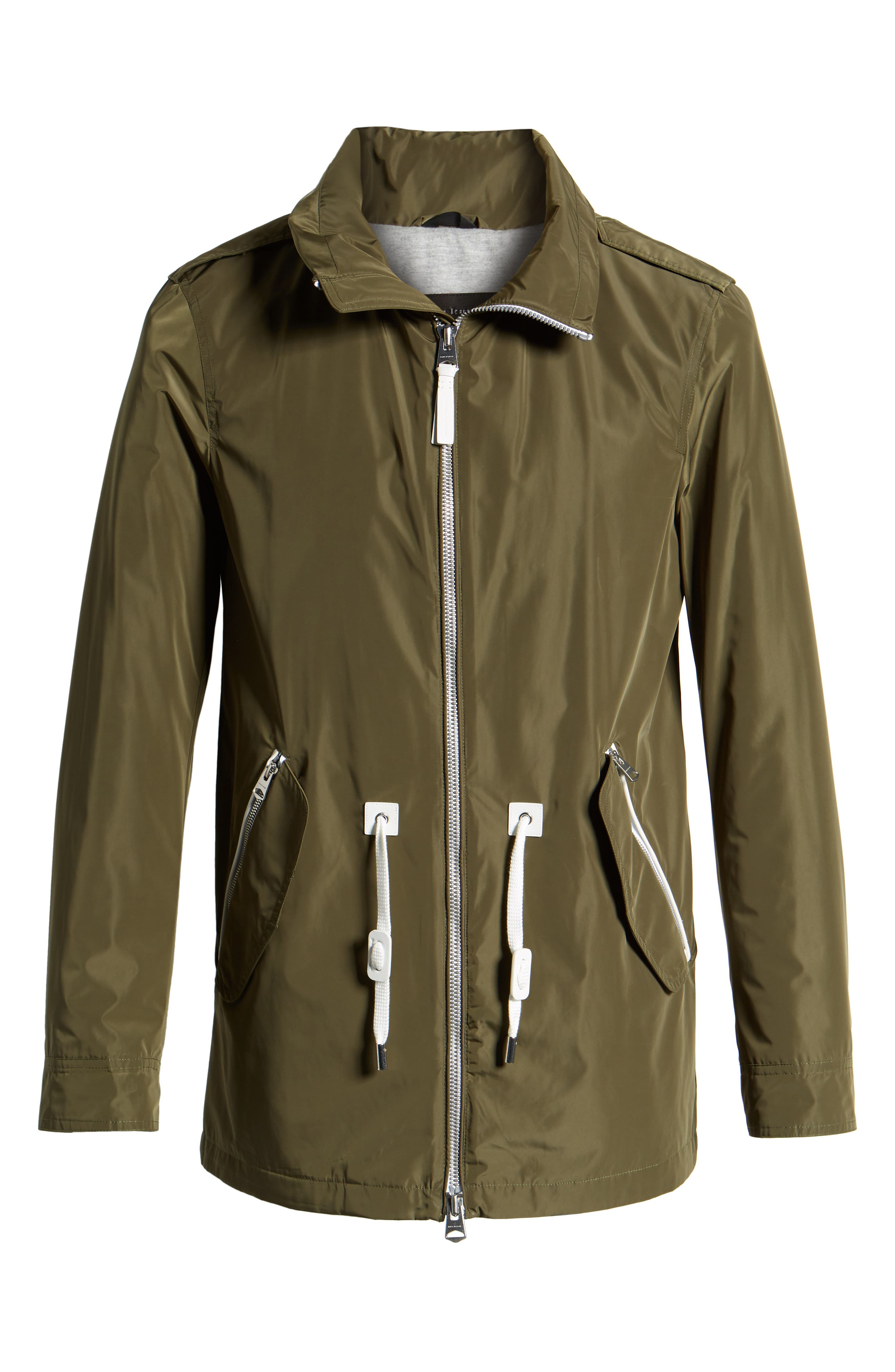 MACKAGE, Mack Water Repellent Lined Raincoat, Alternate thumbnail 6, color, ARMY