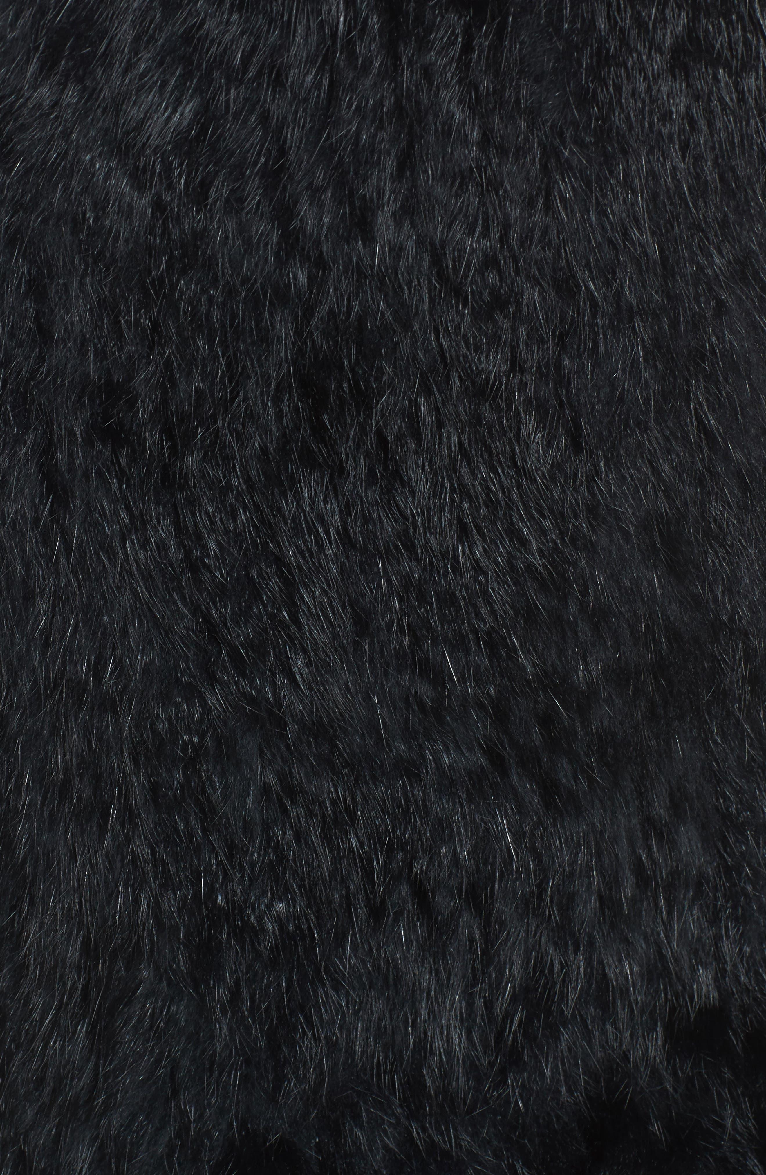 LOVE TOKEN, Genuine Rabbit Fur & Knit Vest, Alternate thumbnail 6, color, 001