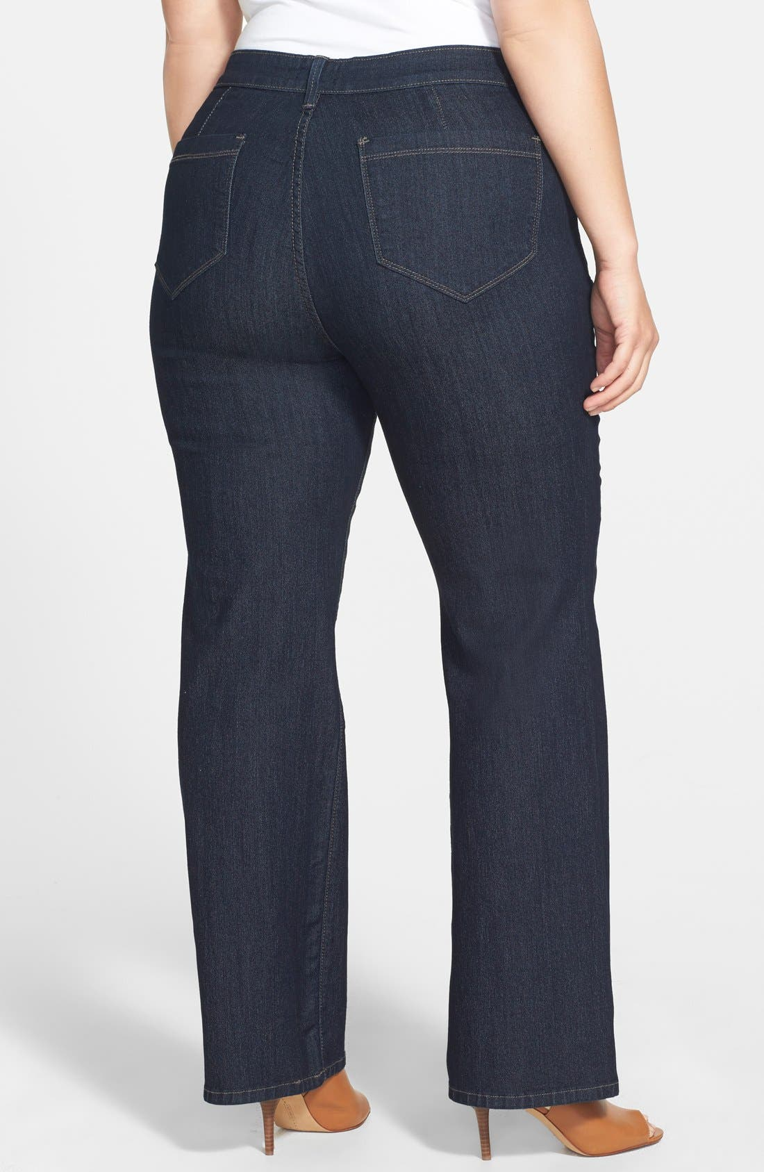 NYDJ, 'Isabella' High Rise Stretch Trouser Jeans, Alternate thumbnail 2, color, DARK ENZYME