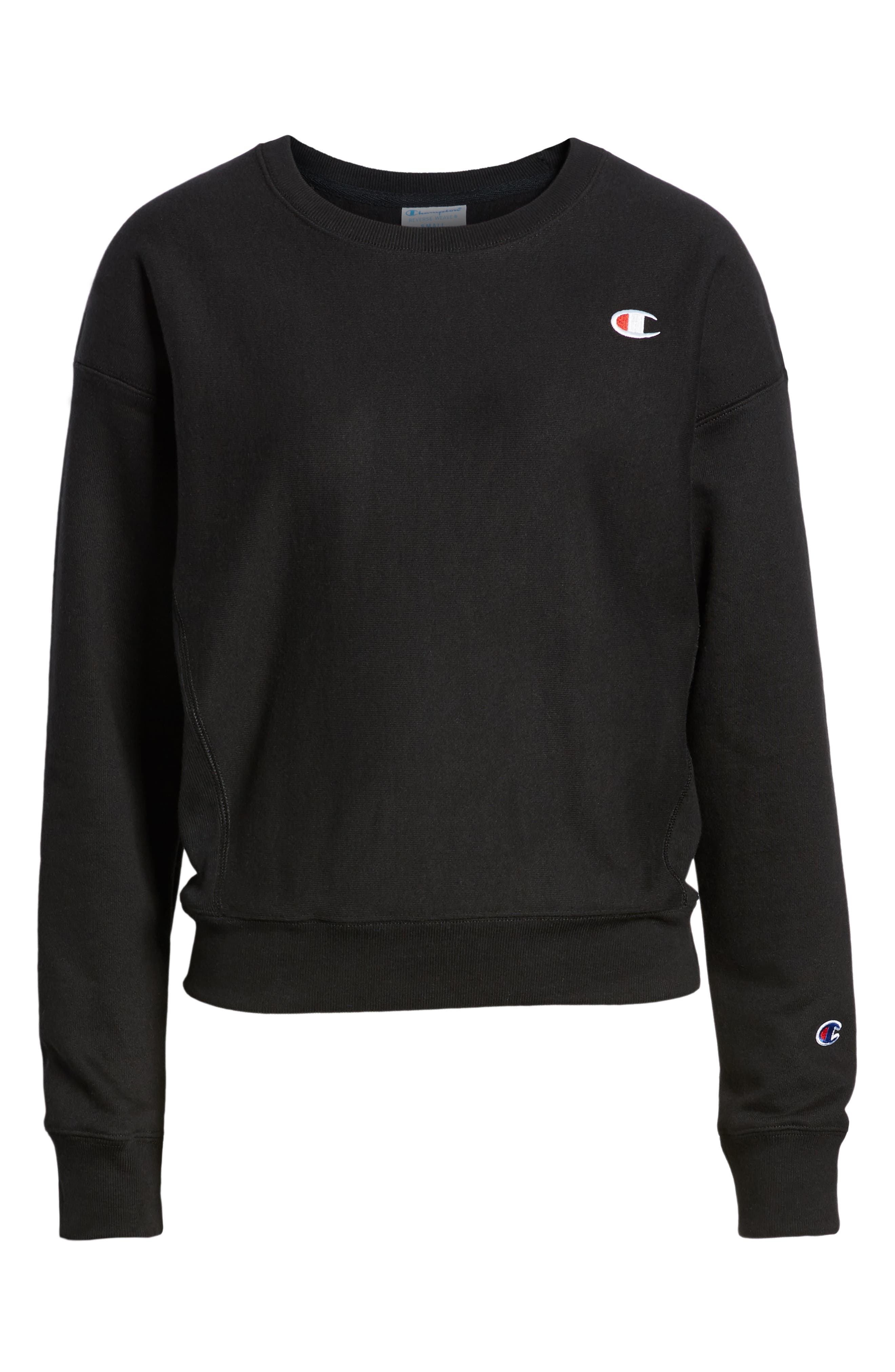 CHAMPION, Reverse Weave Sweatshirt, Alternate thumbnail 5, color, BLACK