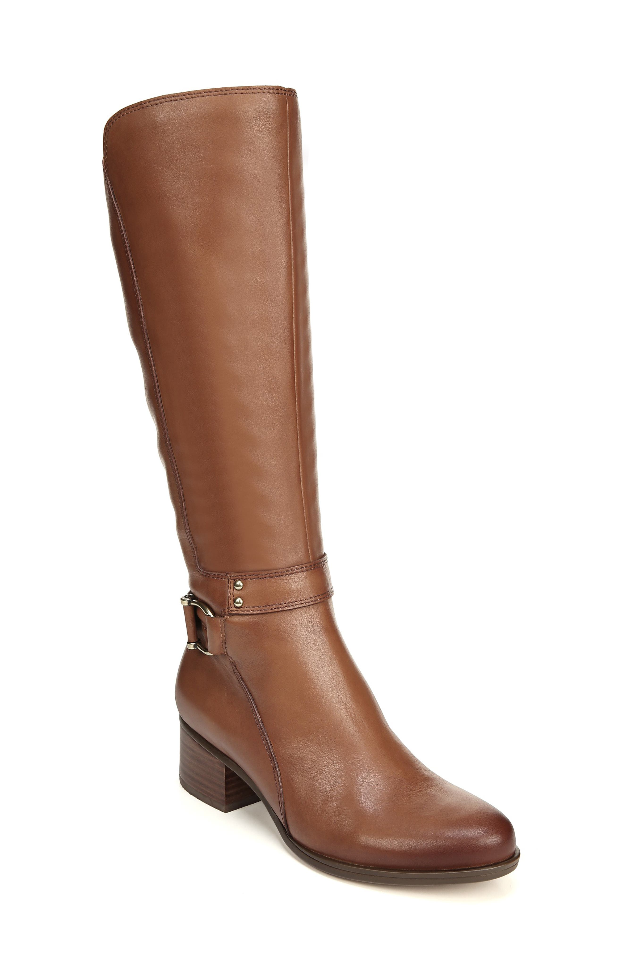 NATURALIZER Dane Knee High Riding Boot, Main, color, MAPLE LEATHER