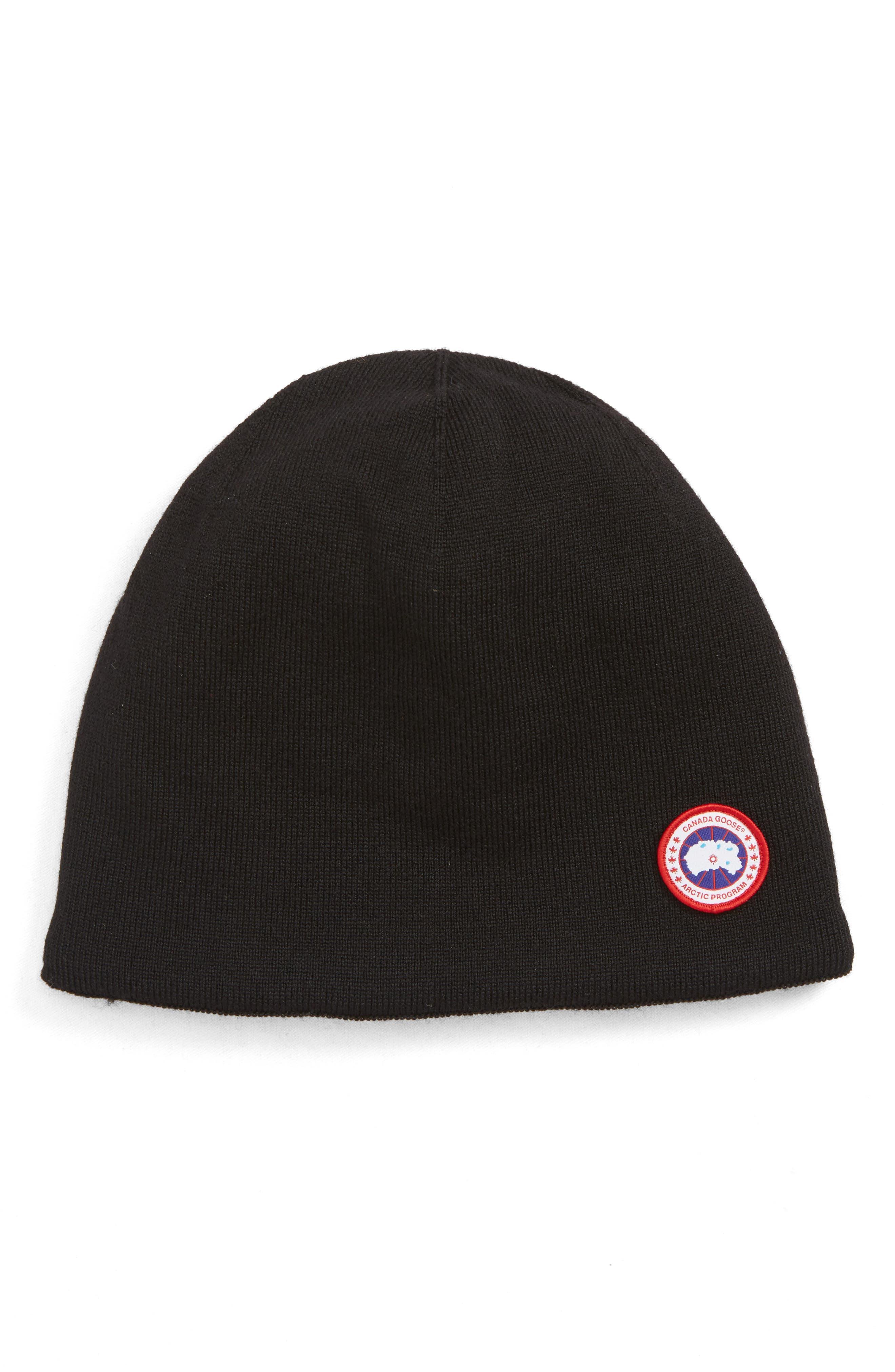 CANADA GOOSE, Standard Wool Blend Beanie, Main thumbnail 1, color, BLACK