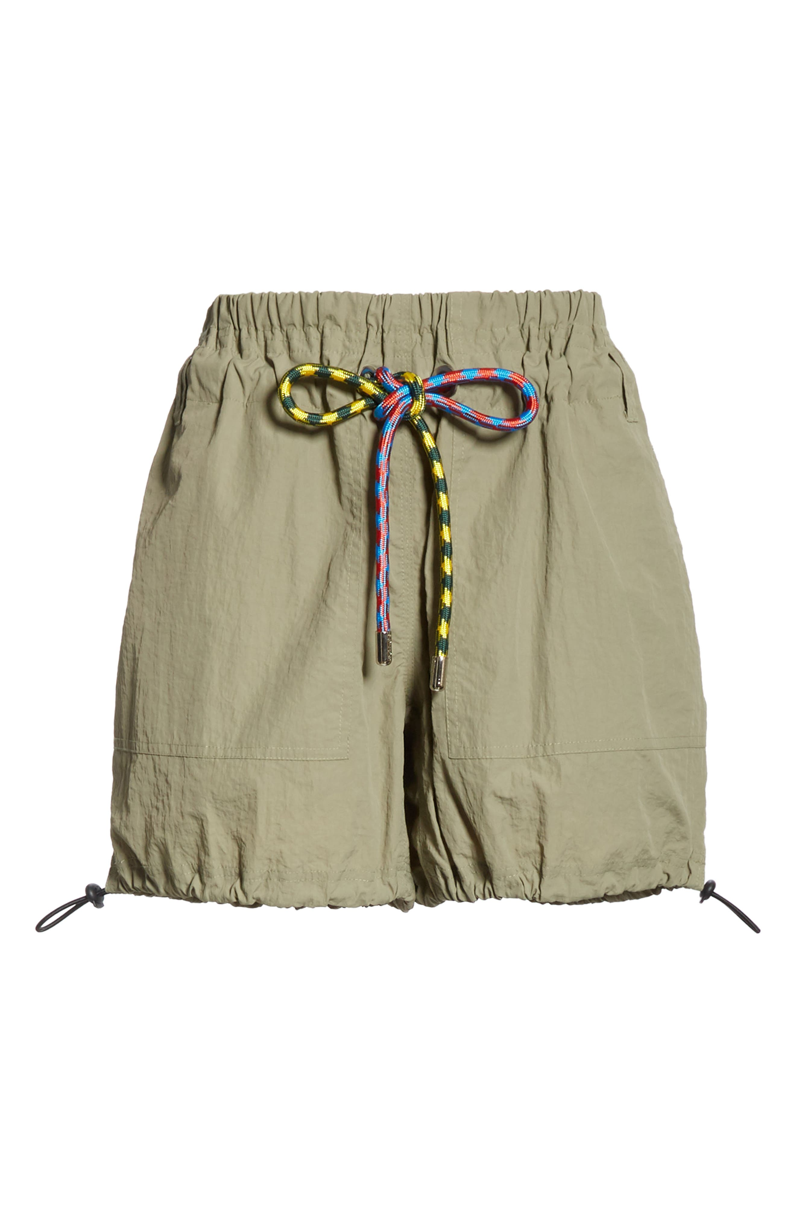 PROENZA SCHOULER, PSWL Drawstring Waist Parachute Shorts, Alternate thumbnail 6, color, MOSS