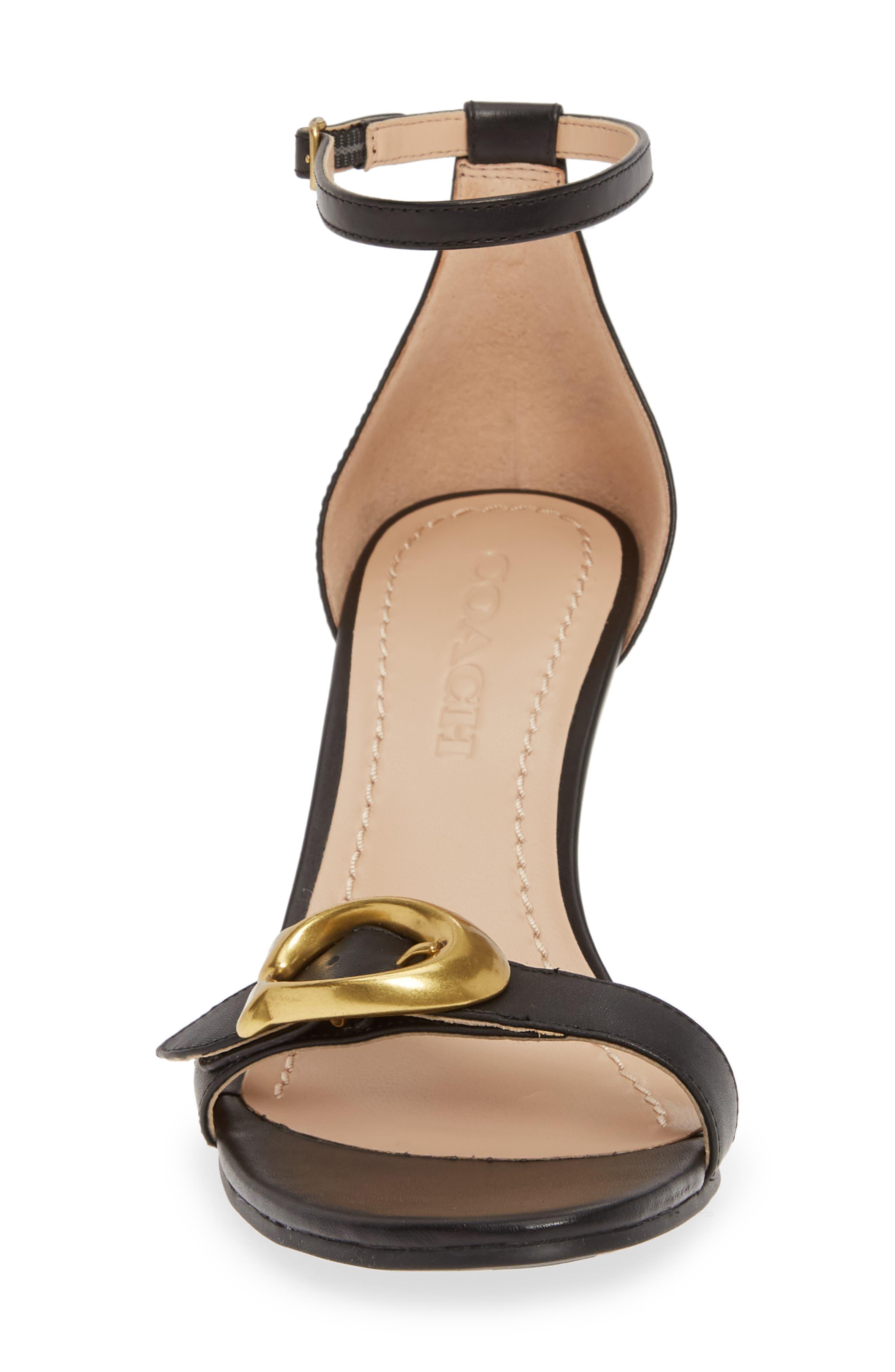 COACH, Odetta Wedge Ankle Strap Sandal, Alternate thumbnail 4, color, BLACK LEATHER