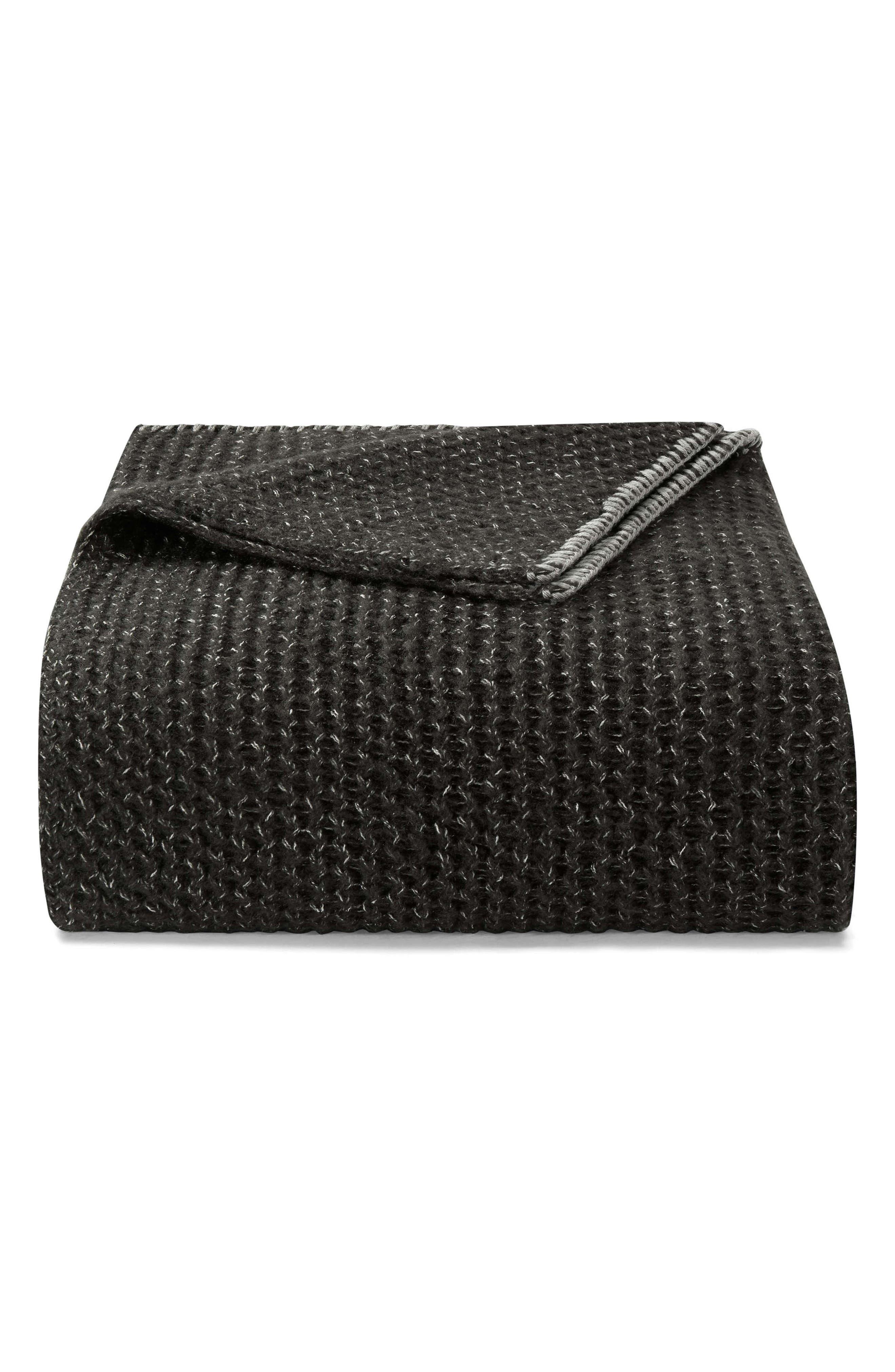 VERA WANG, Marled Knit Throw Blanket, Main thumbnail 1, color, SOOT