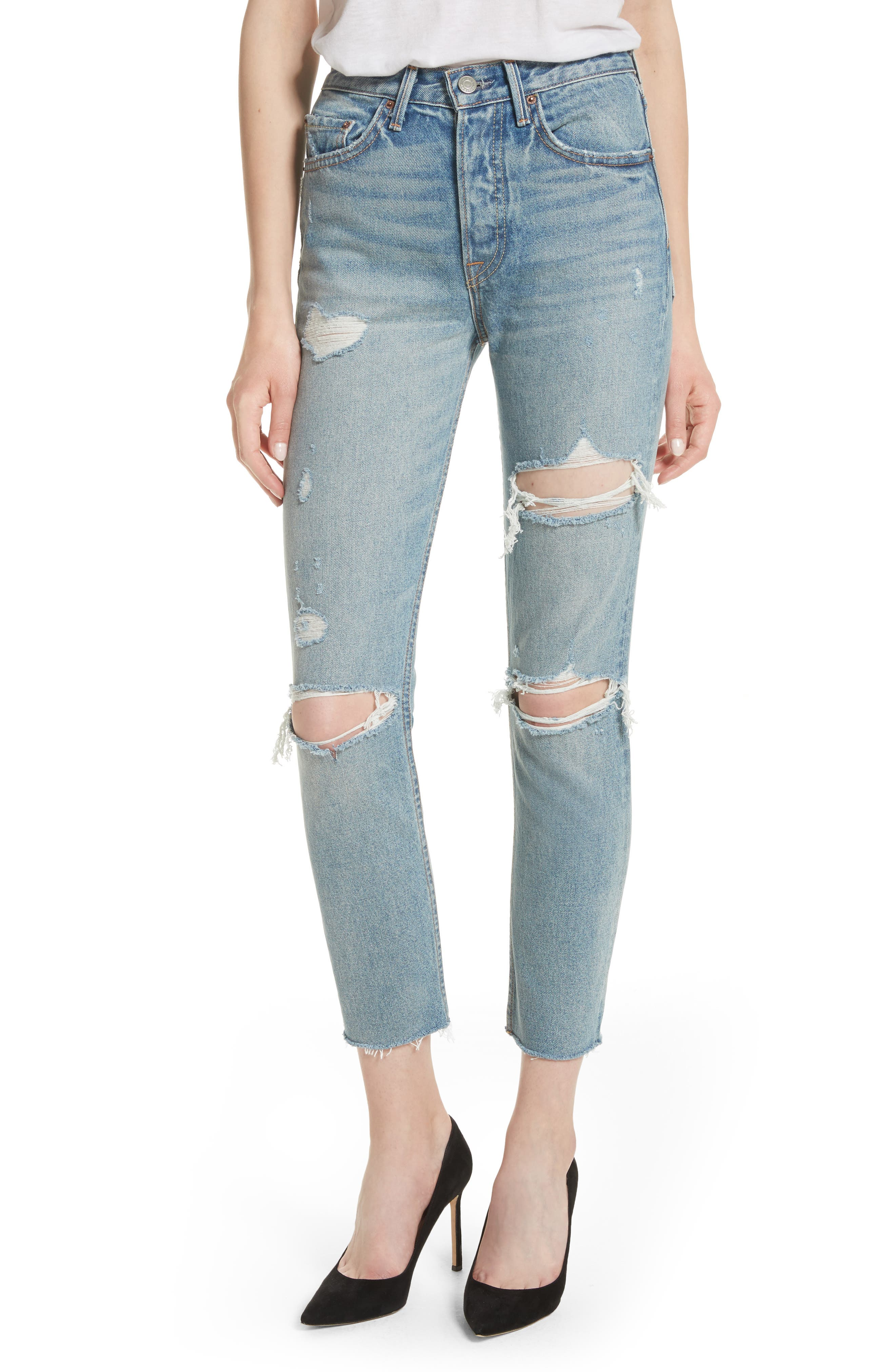 GRLFRND, Karolina Rigid High Waist Skinny Jeans, Main thumbnail 1, color, A LITTLE MORE LOVE