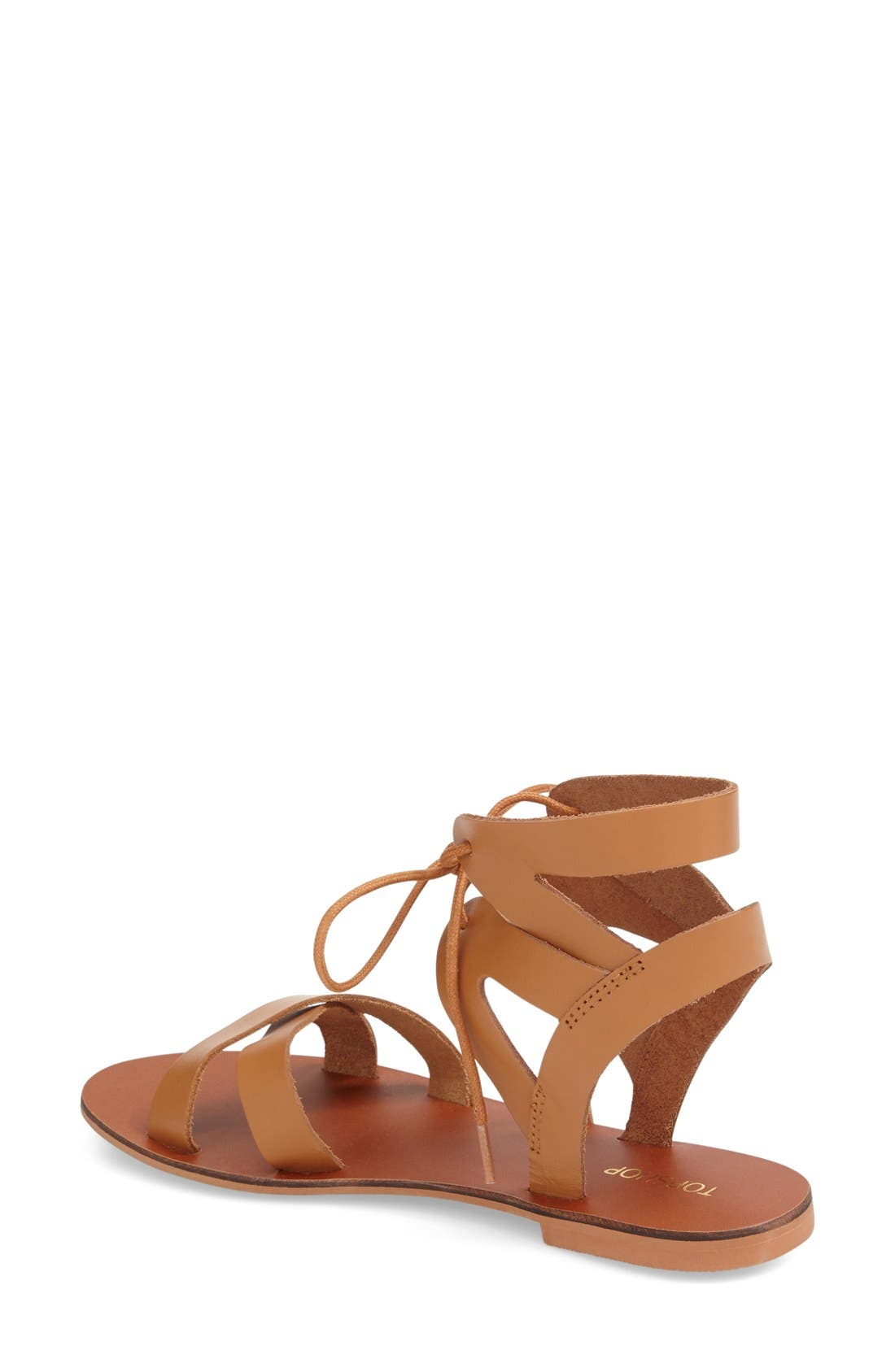 TOPSHOP, 'Herb' Lace-Up Flat Sandal, Alternate thumbnail 3, color, 210