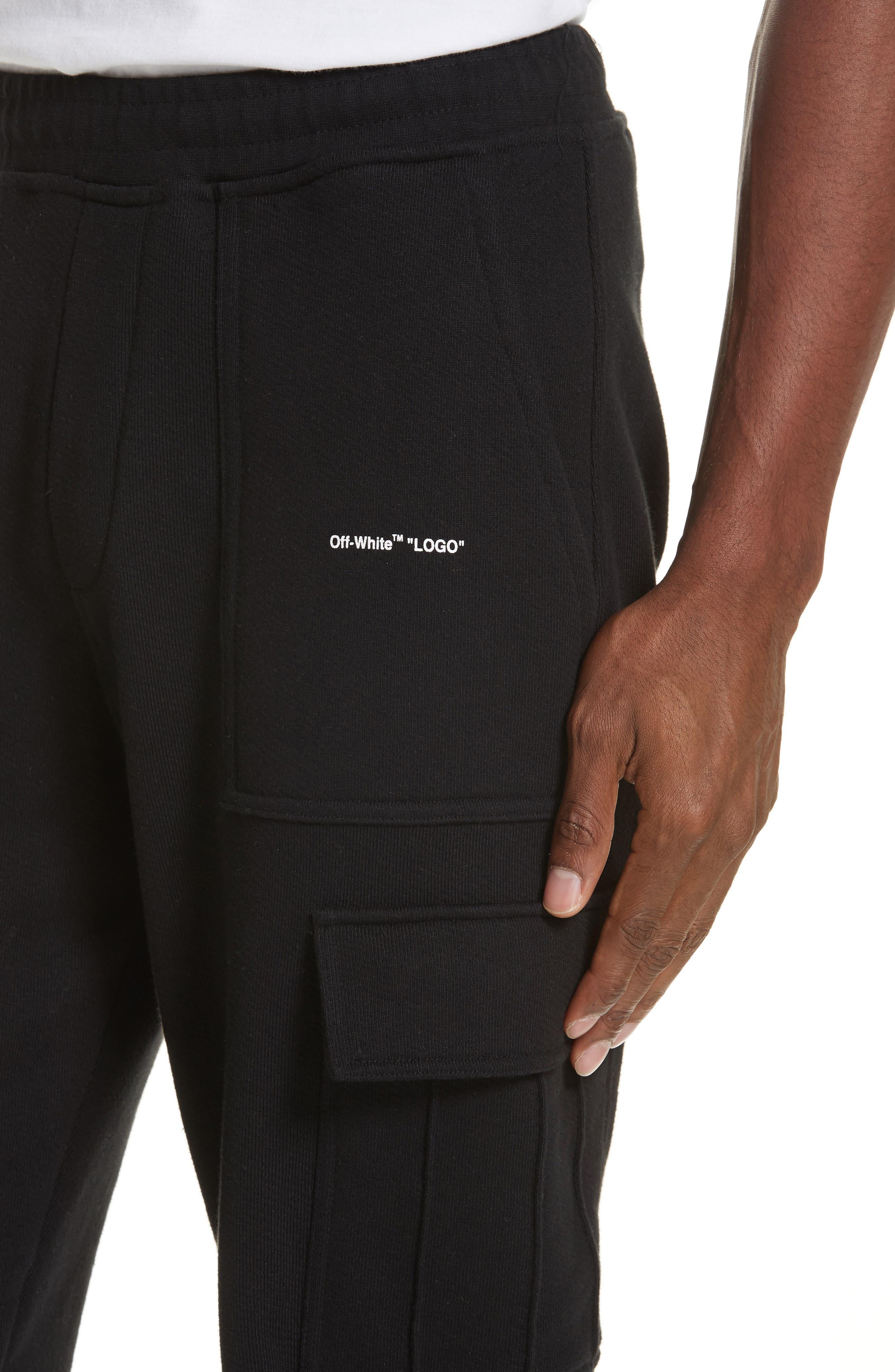 OFF-WHITE, Cargo Jogger Pants, Alternate thumbnail 4, color, BLACK