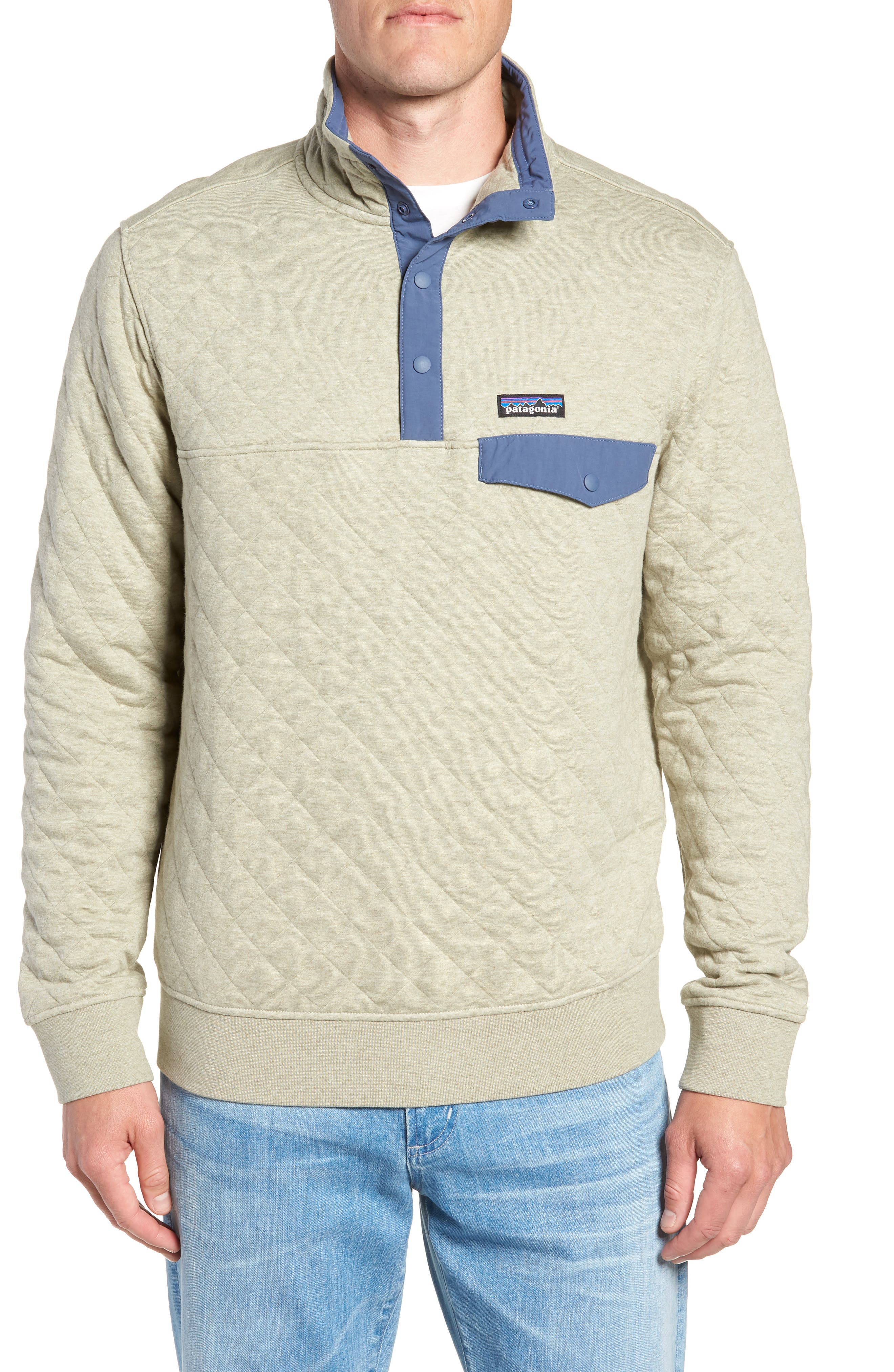 PATAGONIA Snap-T<sup>®</sup> Quilted Fleece Pullover, Main, color, SHALE