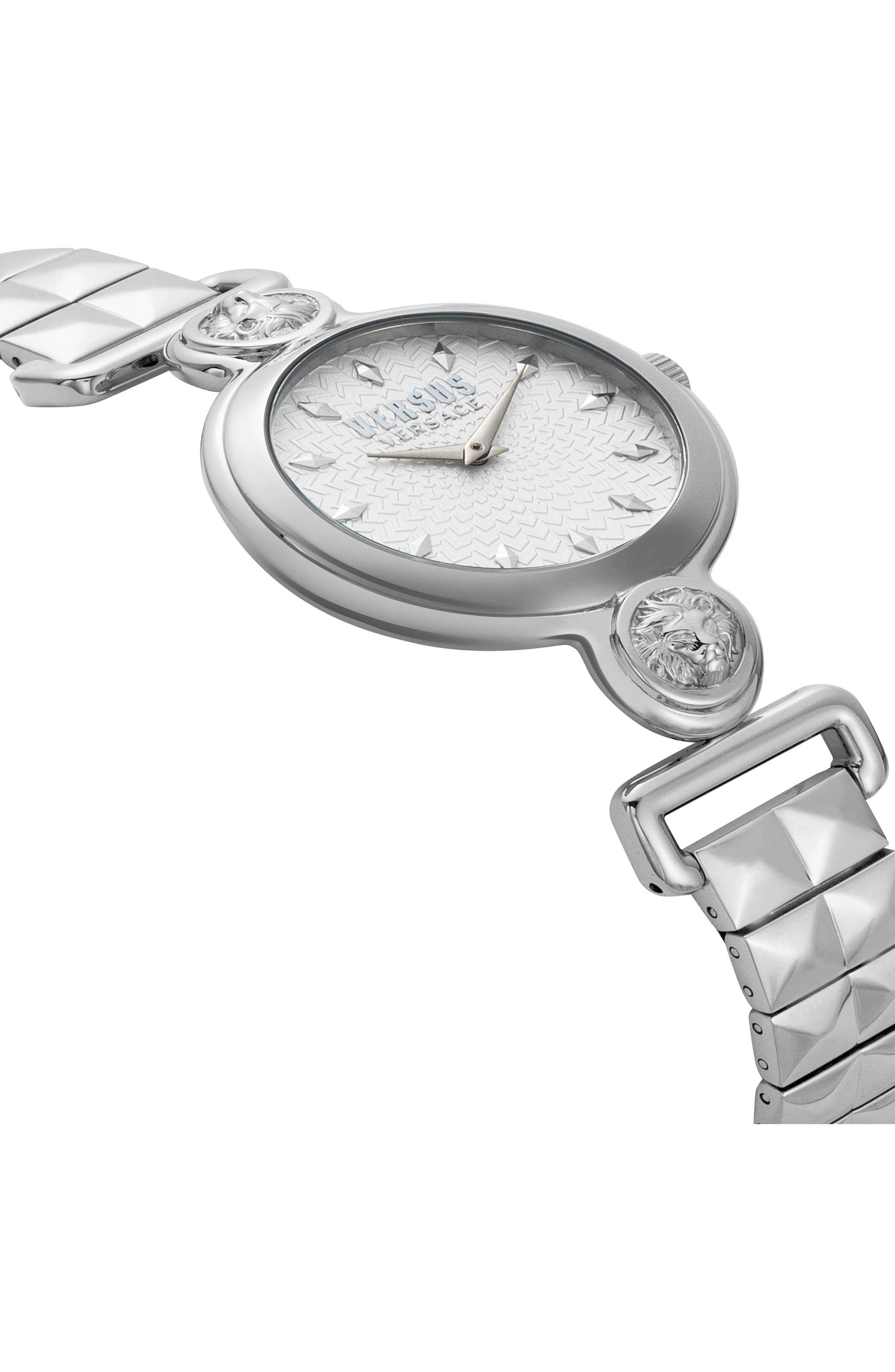 VERSUS VERSACE, Sunnyridge Bracelet Watch, 34mm, Alternate thumbnail 3, color, SILVER