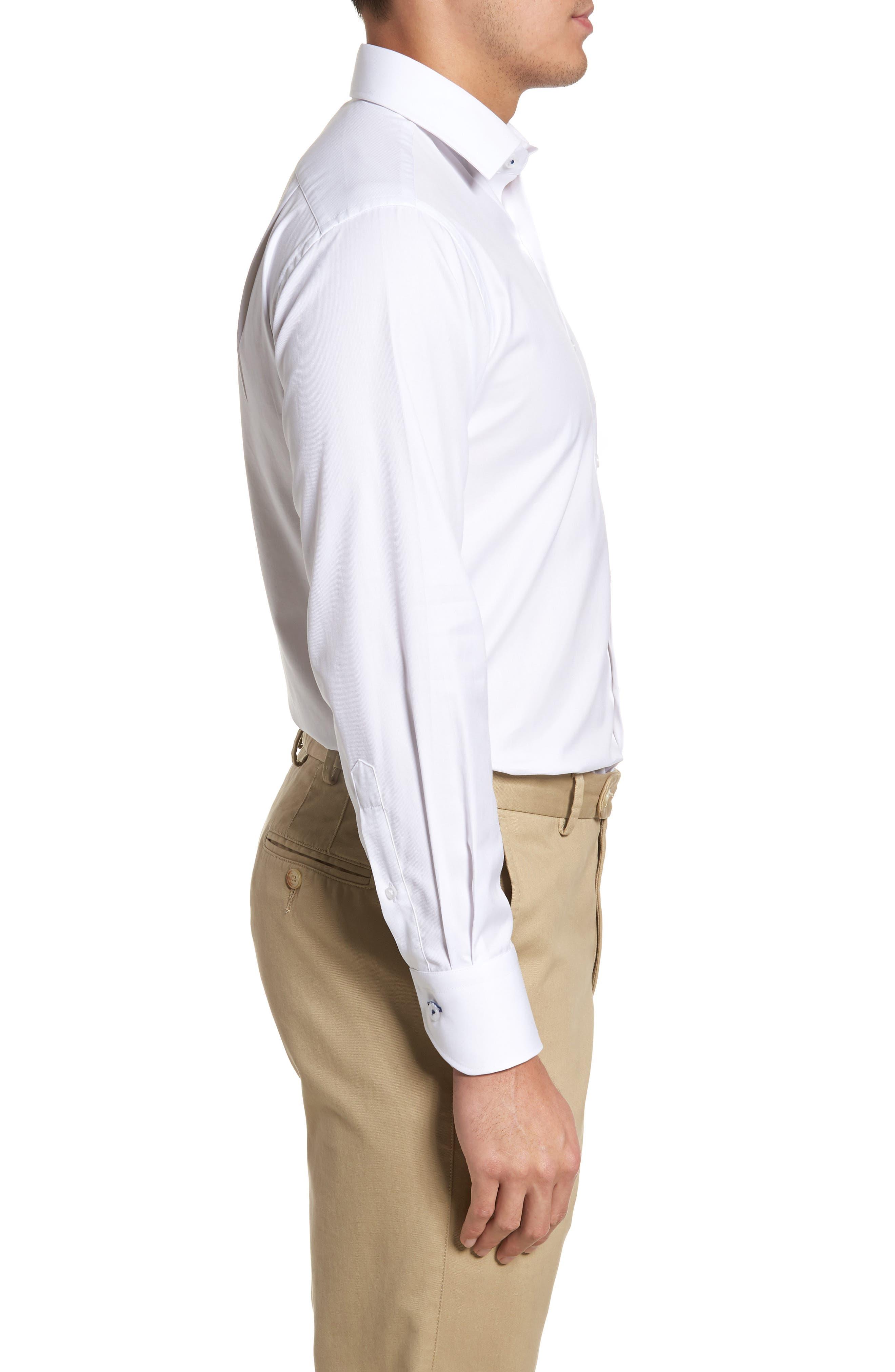 LORENZO UOMO, Trim Fit Solid Dress Shirt, Alternate thumbnail 4, color, WHITE