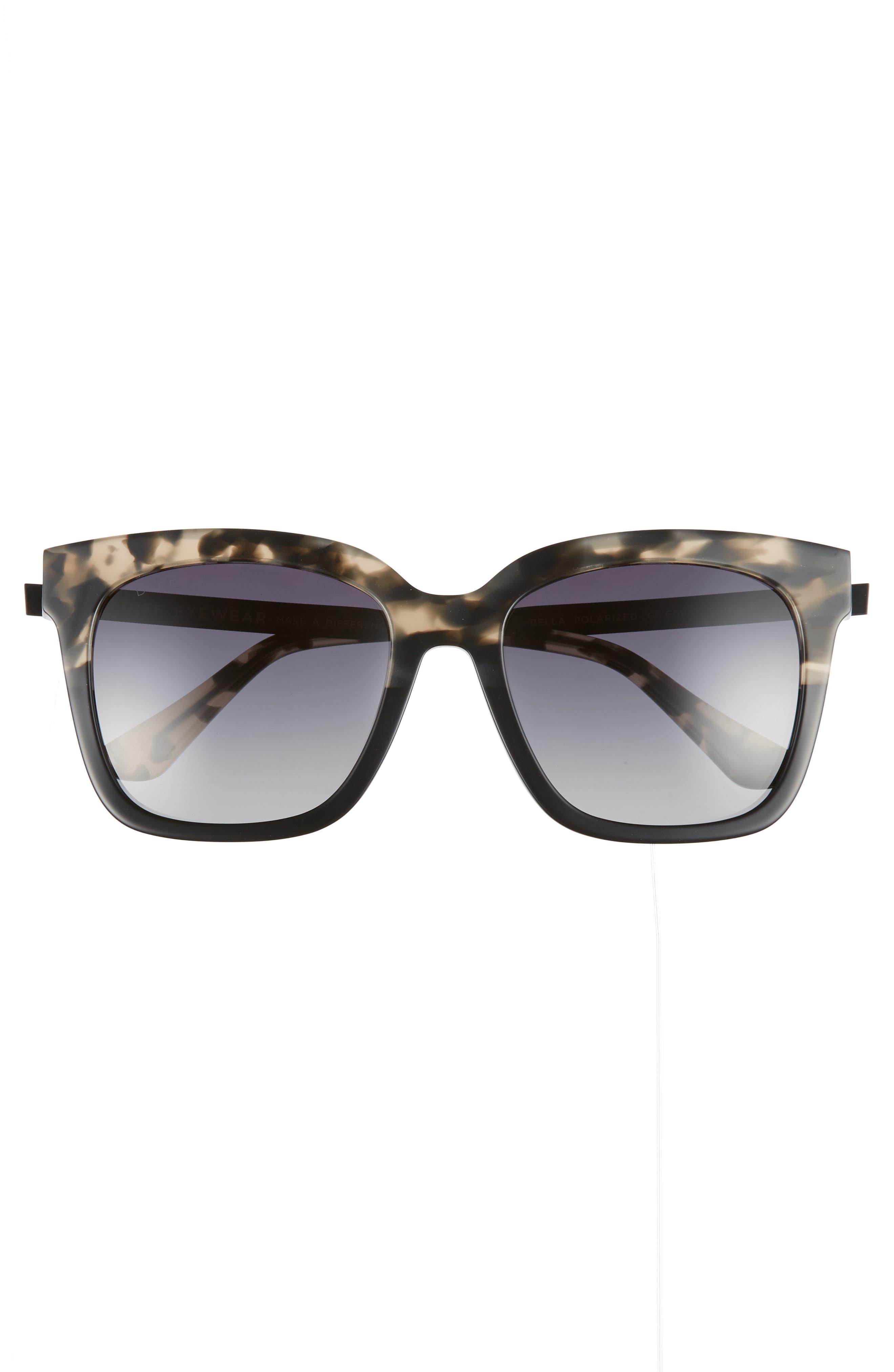 DIFF, Bella 52mm Polarized Sunglasses, Alternate thumbnail 3, color, GREY FAGE/ GREY