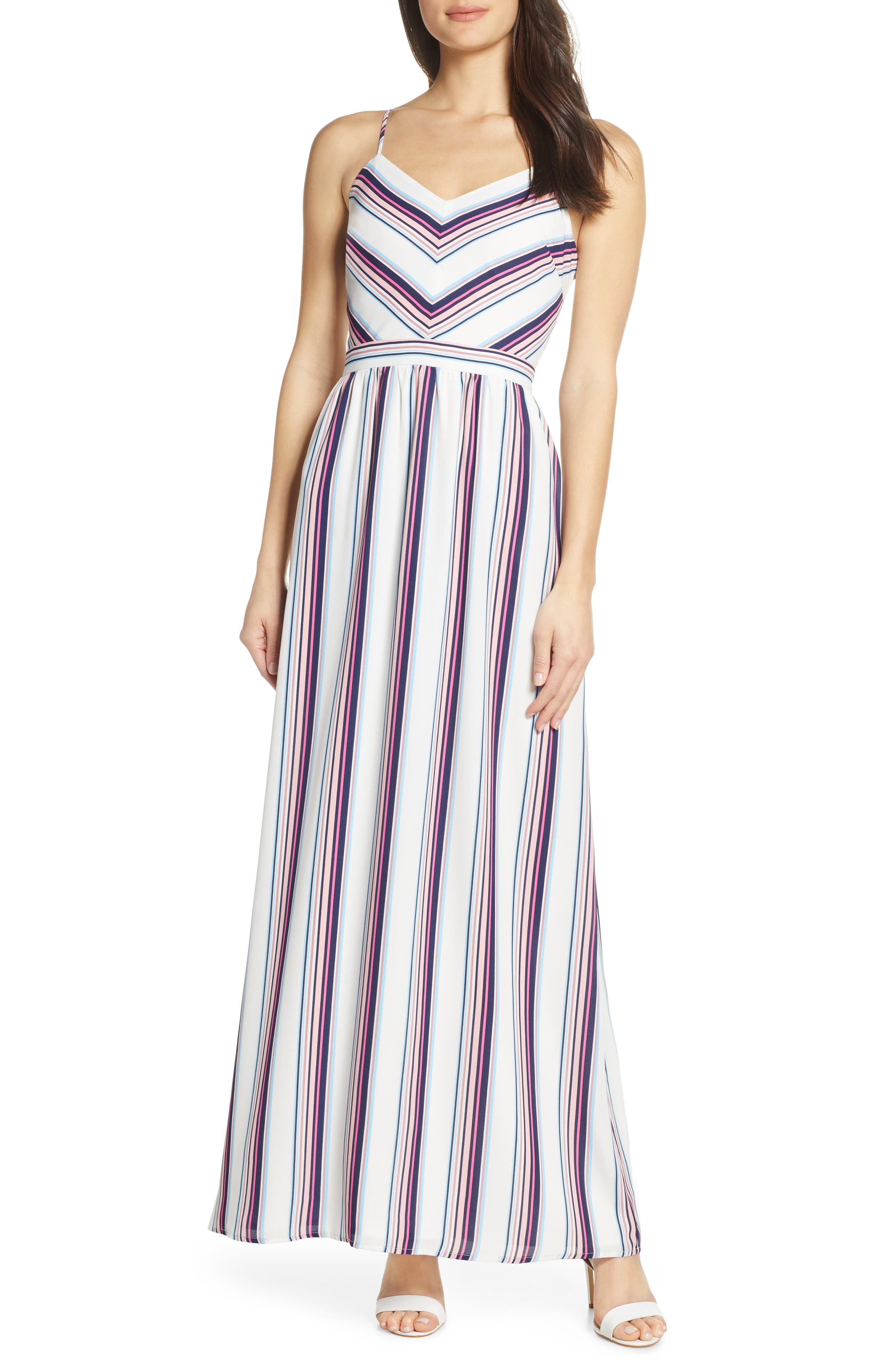 CHARLES HENRY, Cami Maxi Dress, Main thumbnail 1, color, WHITE-NAVY STRIPE