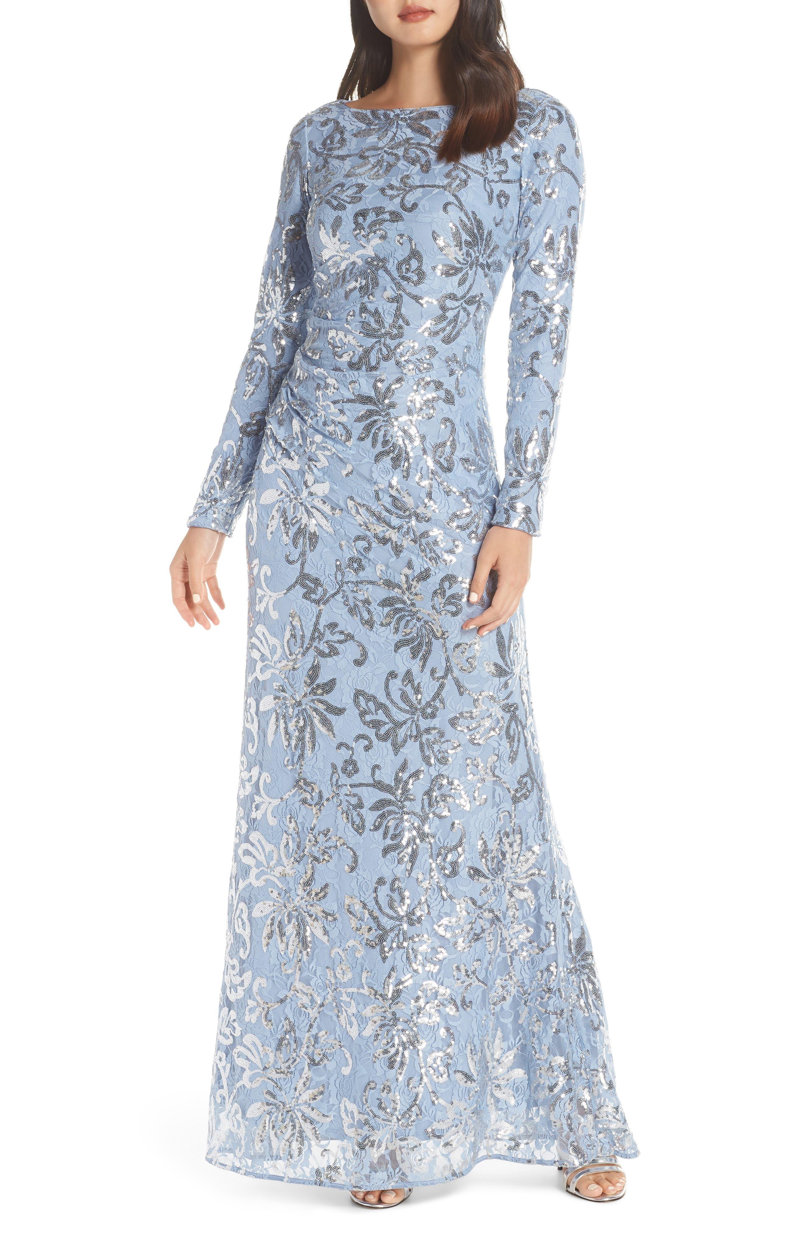 VINCE CAMUTO, Lace & Sequin Evening Dress, Alternate thumbnail 6, color, SKY BLUE
