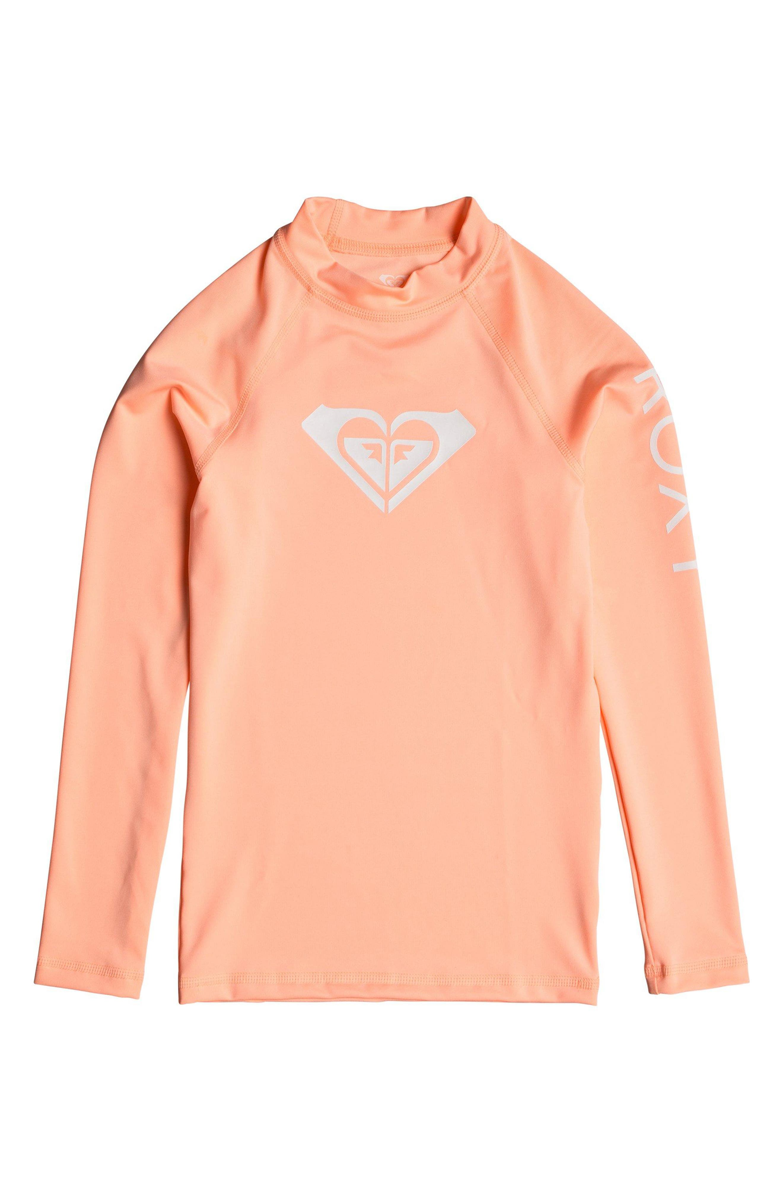 Girls Roxy Whole Hearted Long Sleeve Rashguard Size XL (14)  Pink
