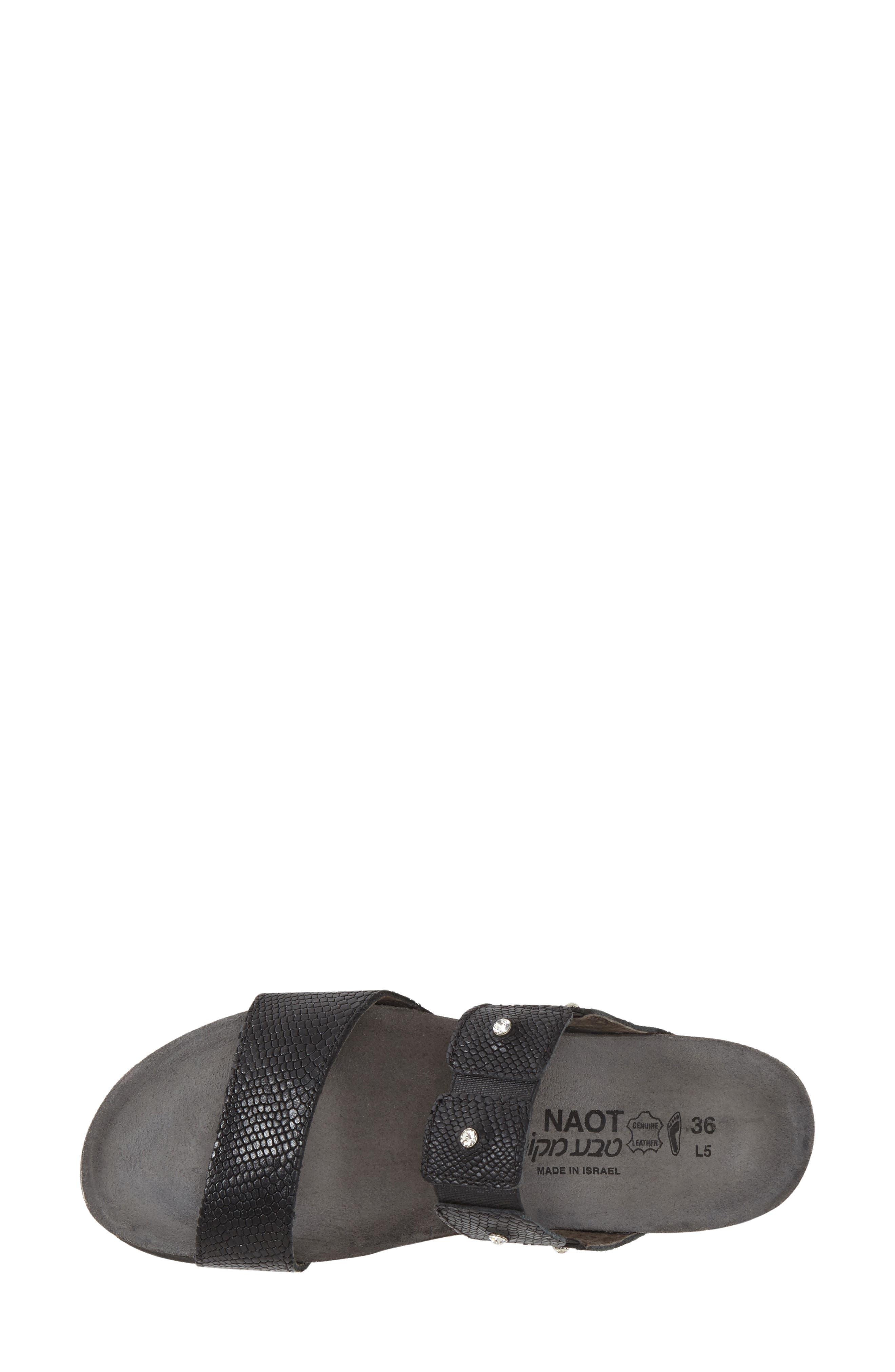 NAOT, 'Ashley' Sandal, Alternate thumbnail 2, color, BLACK SNAKE LEATHER
