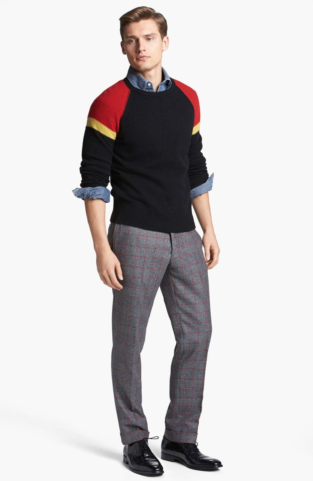 MICHAEL BASTIAN, Skinny Fit Glen Plaid Pants, Alternate thumbnail 4, color, 023