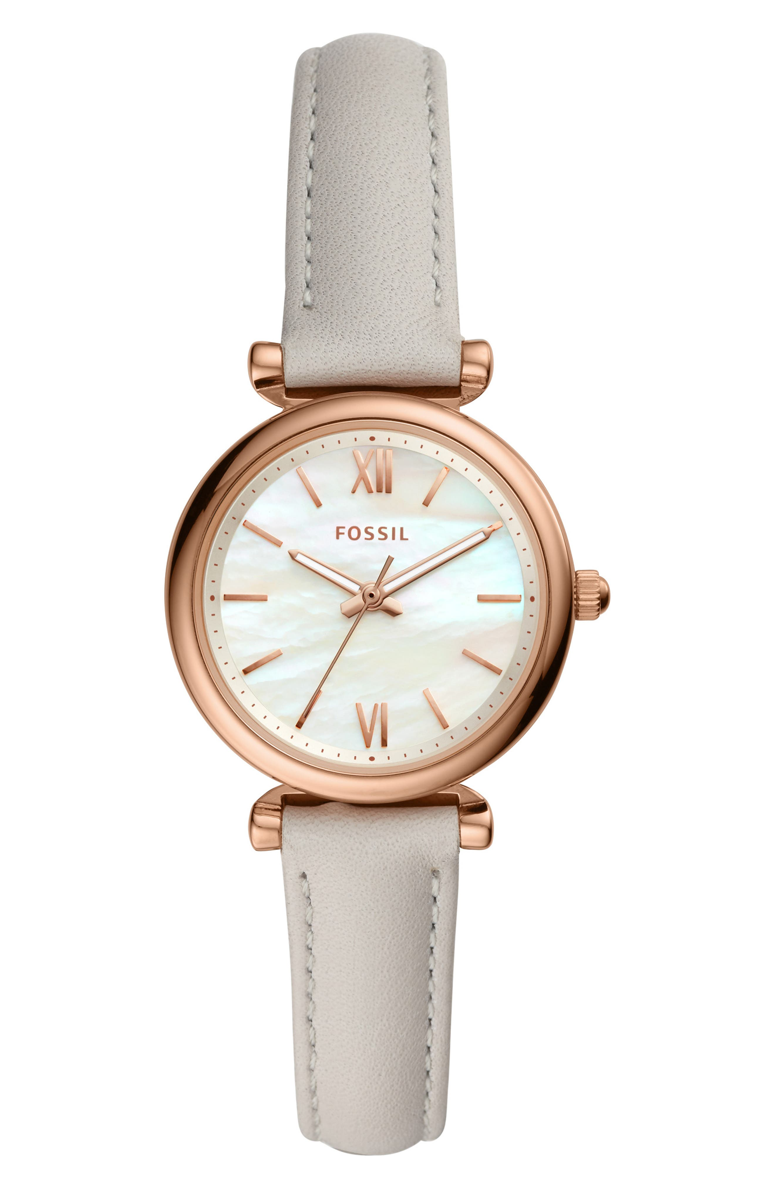 FOSSIL, Mini Carlie Star Leather Strap Watch, 28mm, Main thumbnail 1, color, GREY/ WHITE MOP/ ROSE GOLD