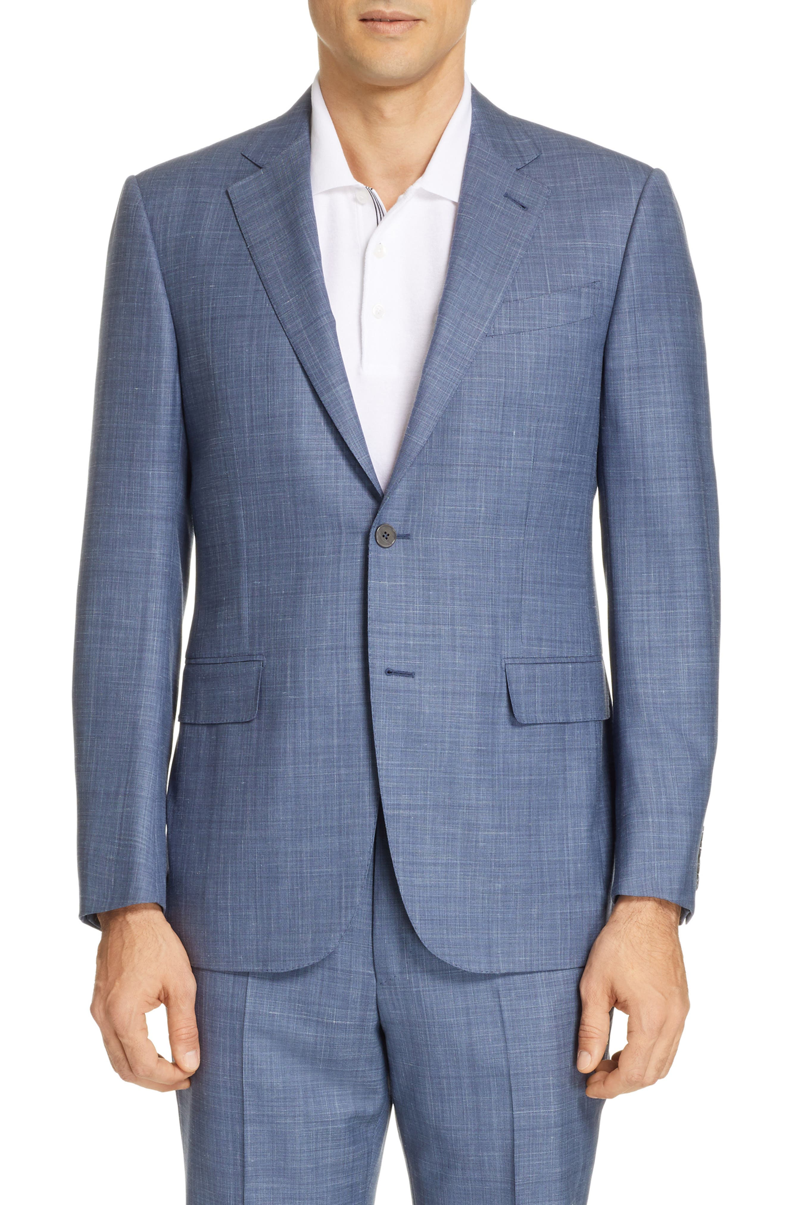 ERMENEGILDO ZEGNA, Trofeo Classic Fit Solid Wool Blend Suit, Alternate thumbnail 5, color, BLUE